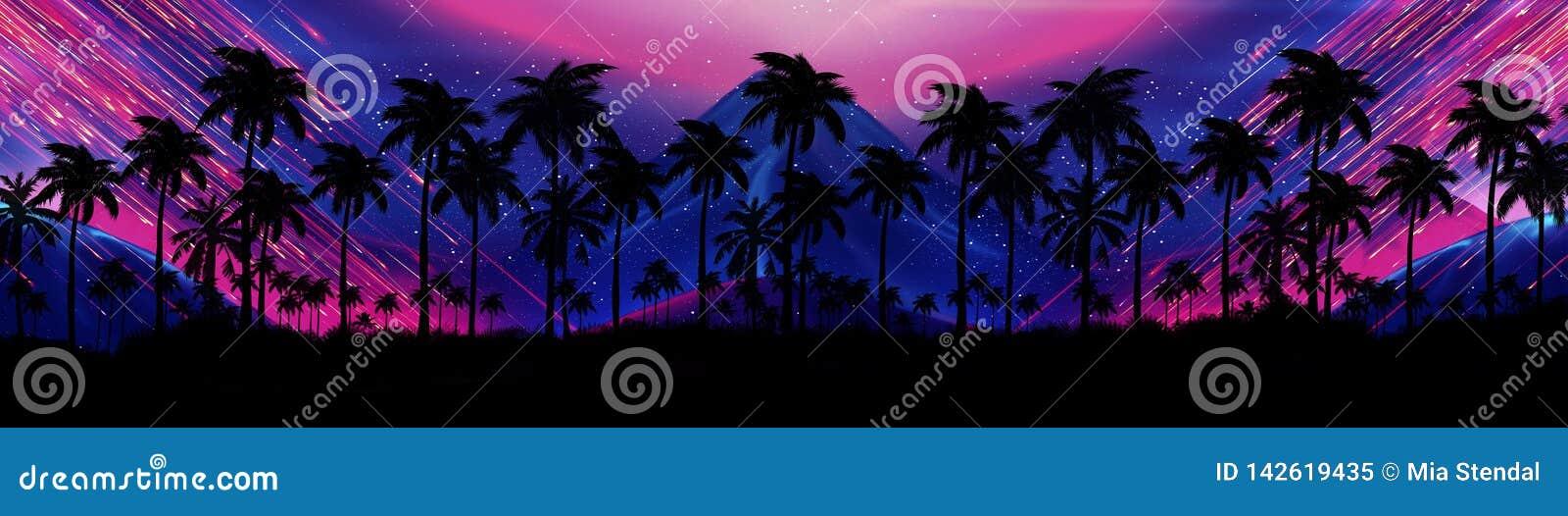 Ландшафт со звездами, заход солнца ночи, звезды Пальмы кокоса силуэта