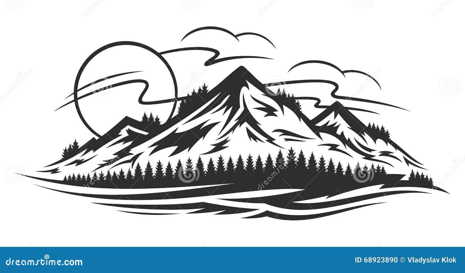 Ландшафт горы вектора