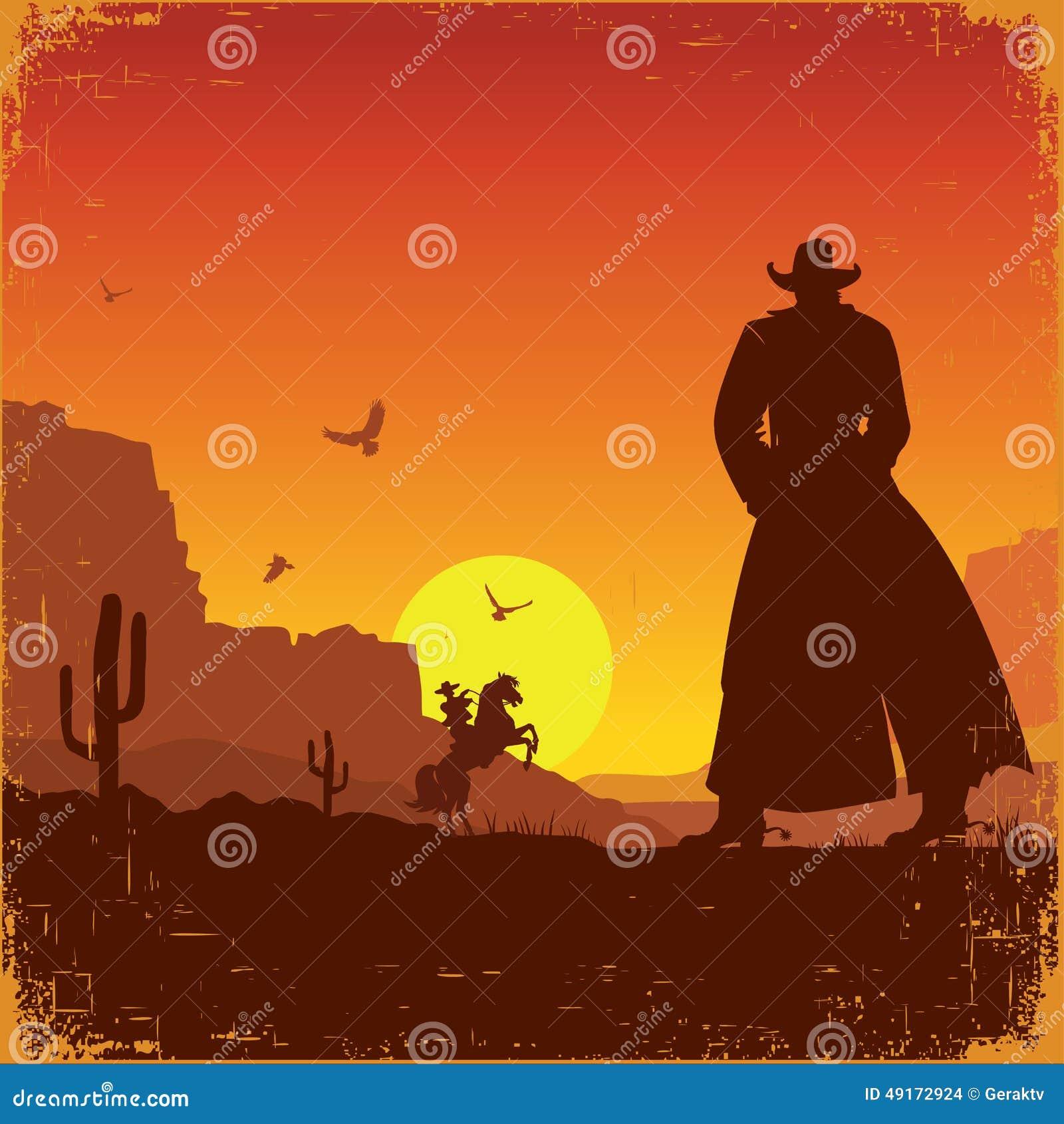 Ландшафт Диких Западов американский Плакат вектора западный