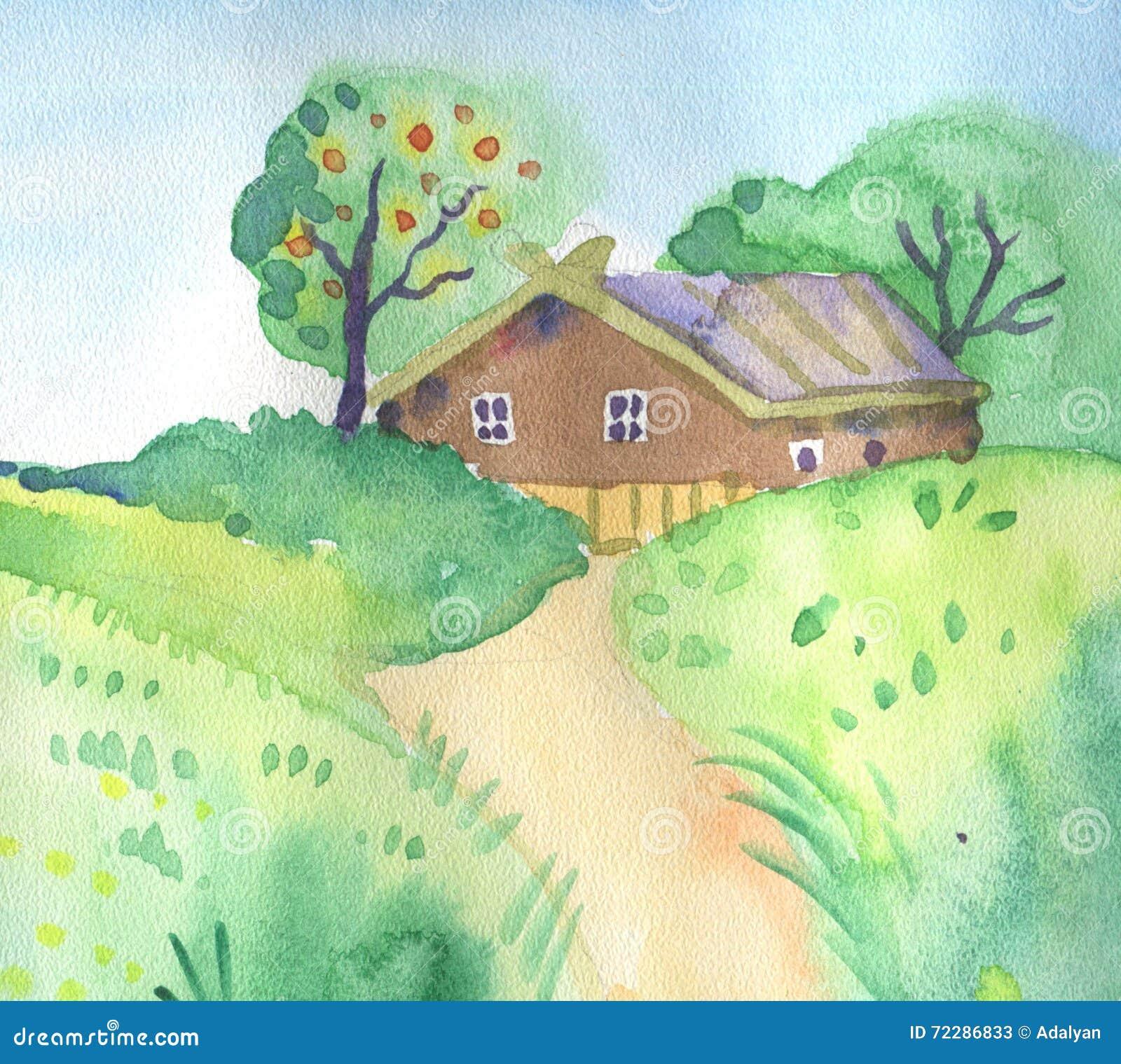 Download Ландшафт лета с милым маленьким домом Иллюстрация штока - иллюстрации насчитывающей каникула, backhoe: 72286833