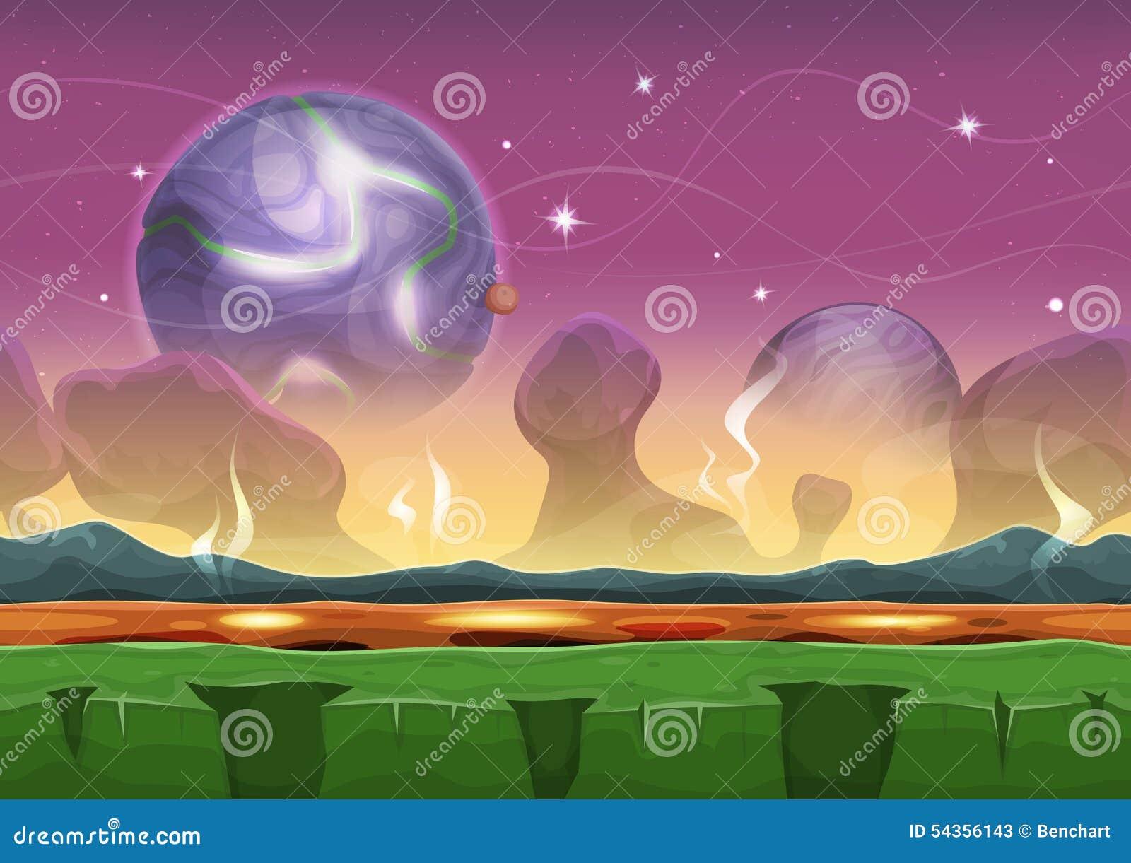 Ландшафт чужеземца научной фантастики фантазии для игры Ui
