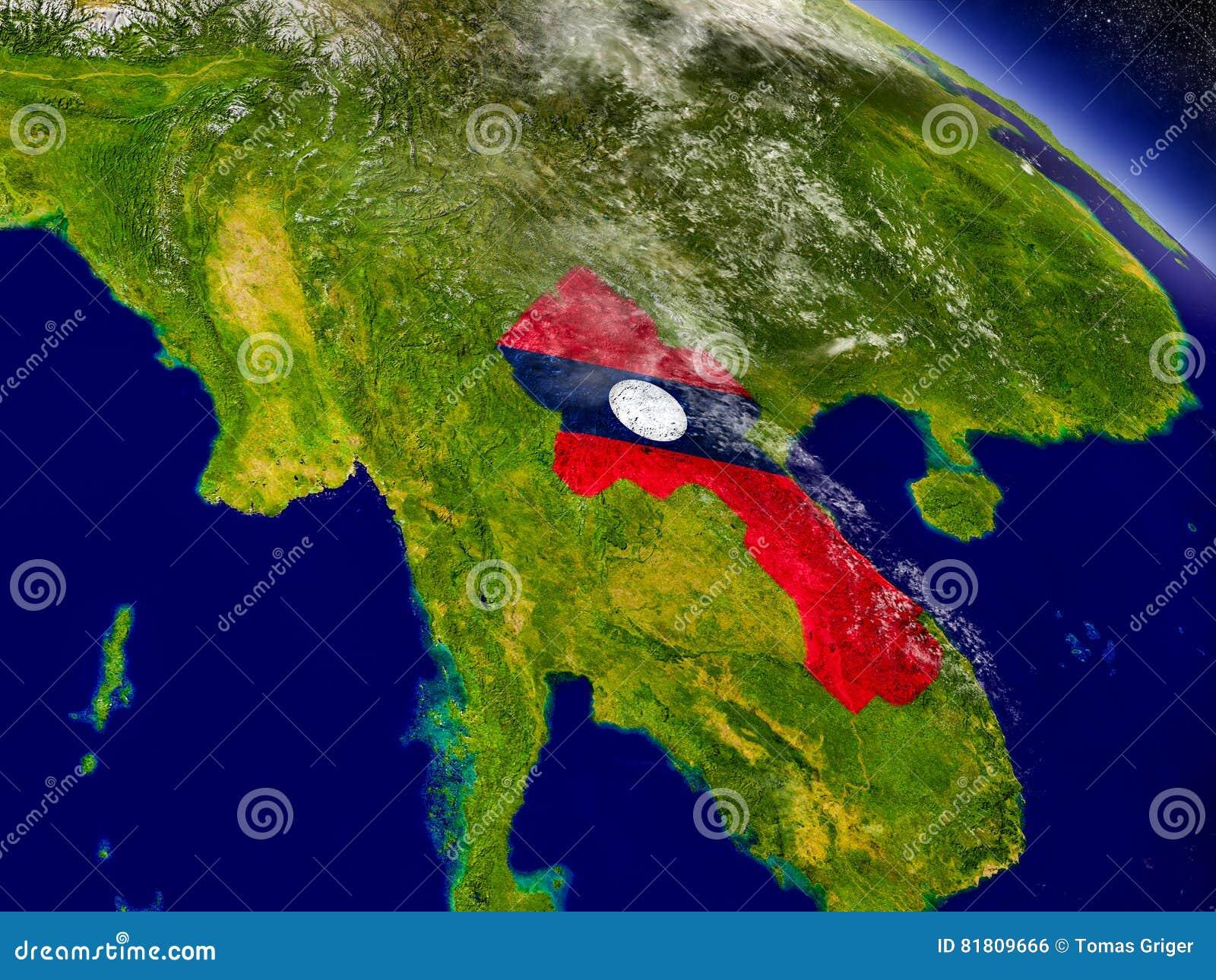 Лаос с врезанным флагом на земле