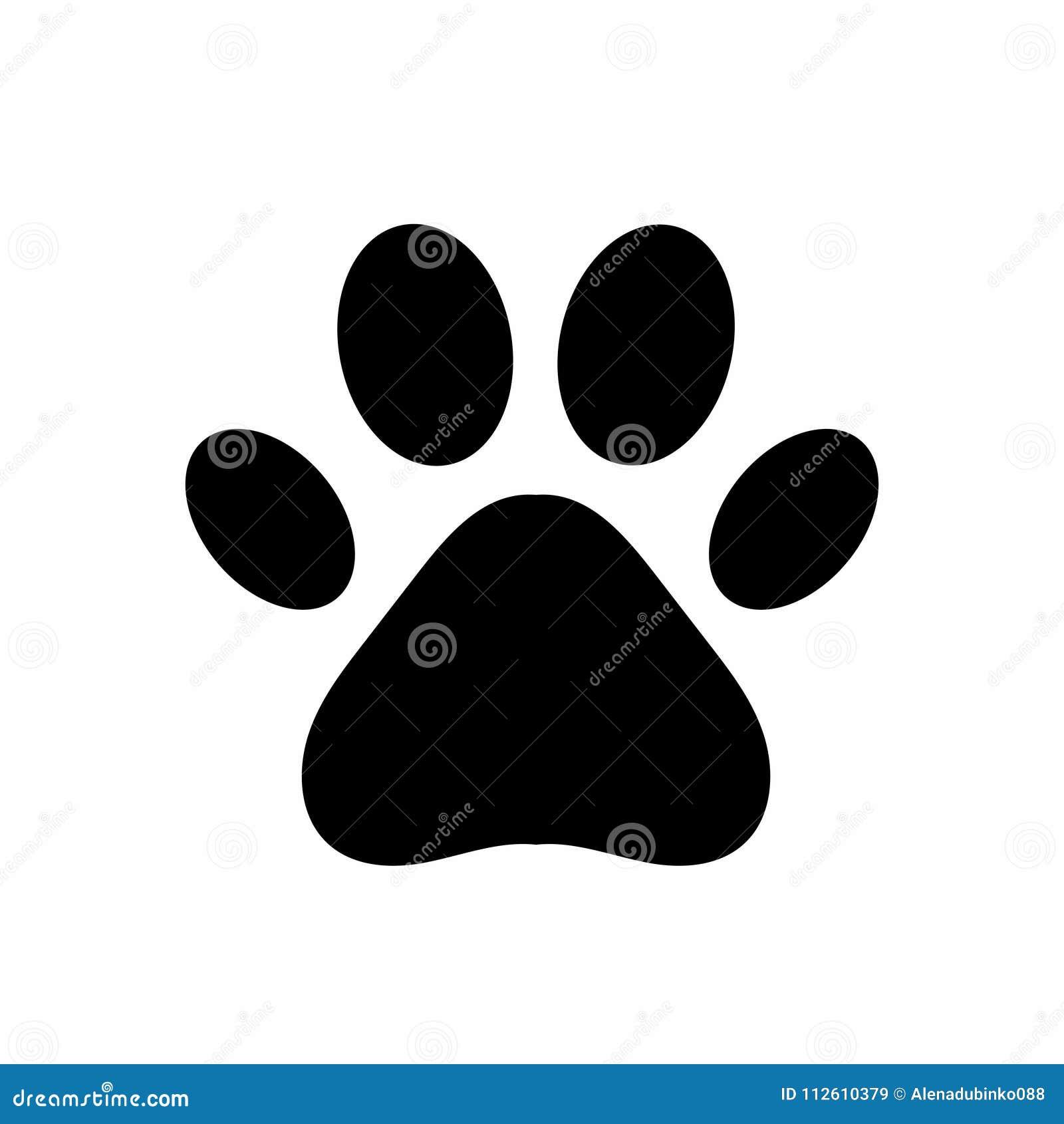 Лапка собаки или кота Черная печать лапки изолированная на белой предпосылке