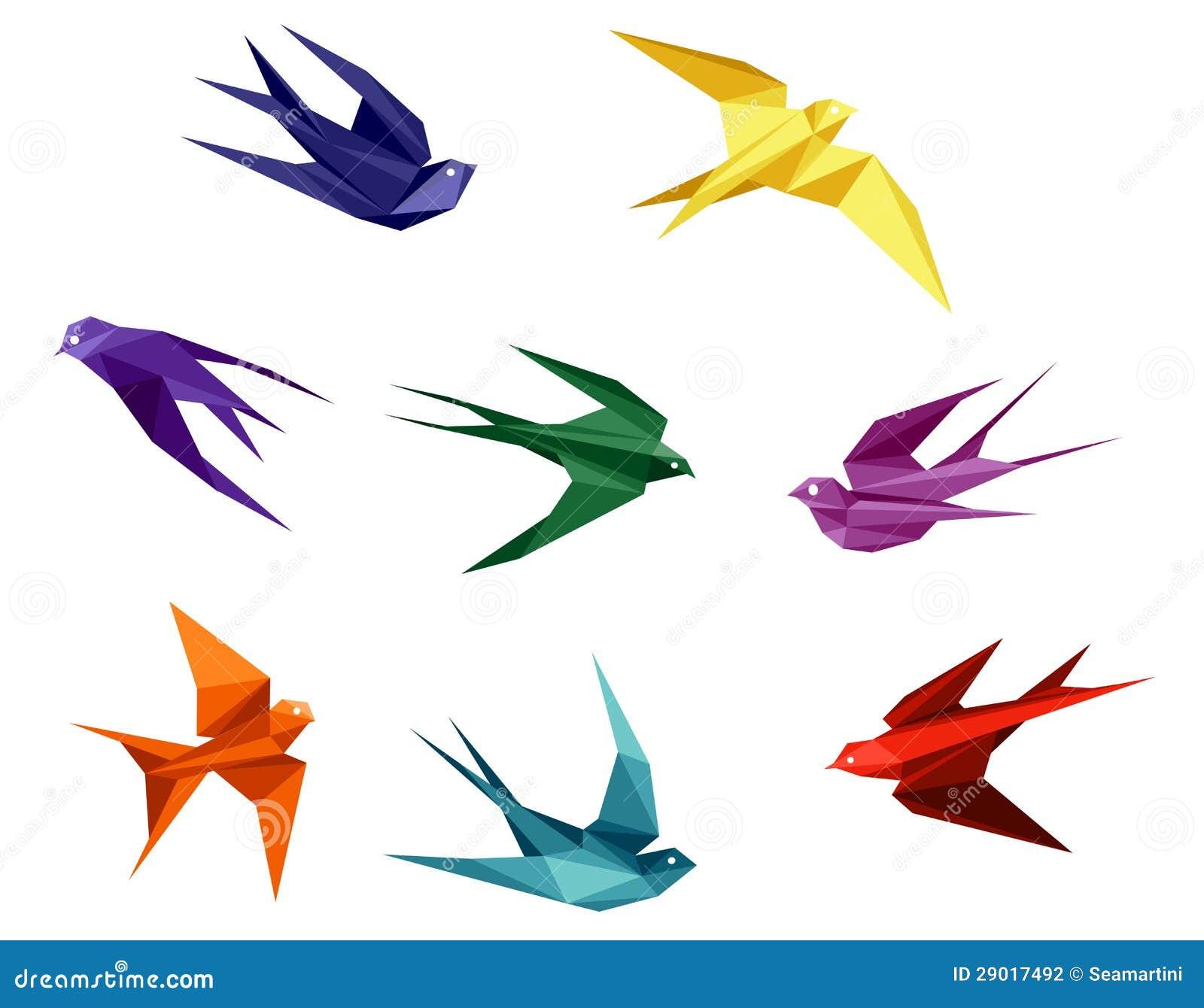 Ласточка из бумаги оригами