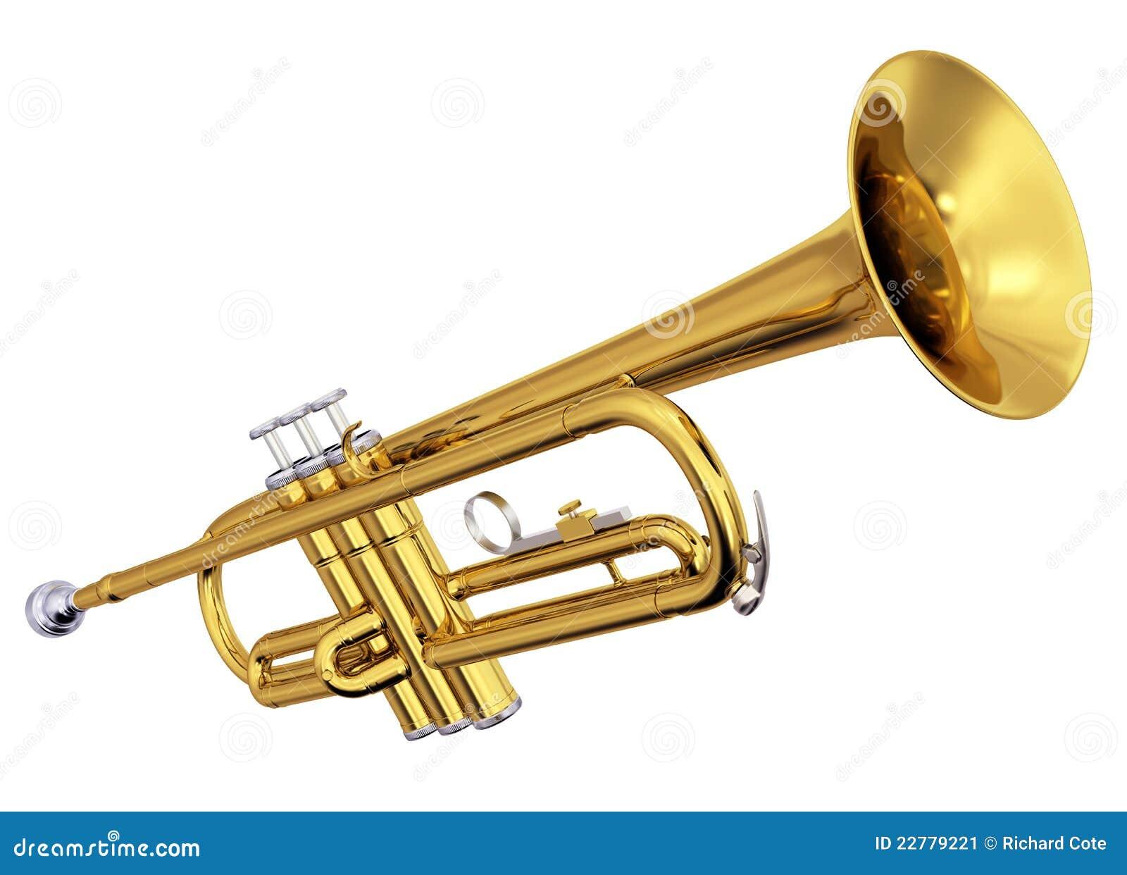 Латунный trumpet на белой предпосылке
