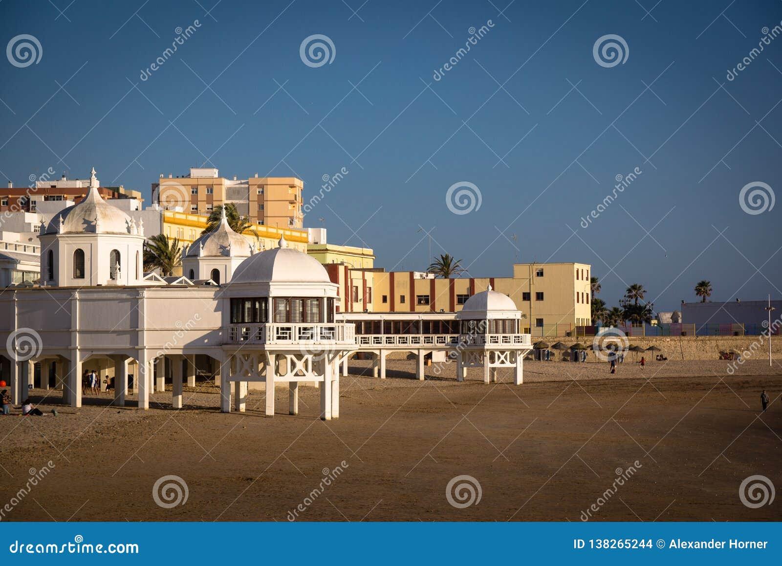 Ла Caleta Playa в Кадис Andalusien