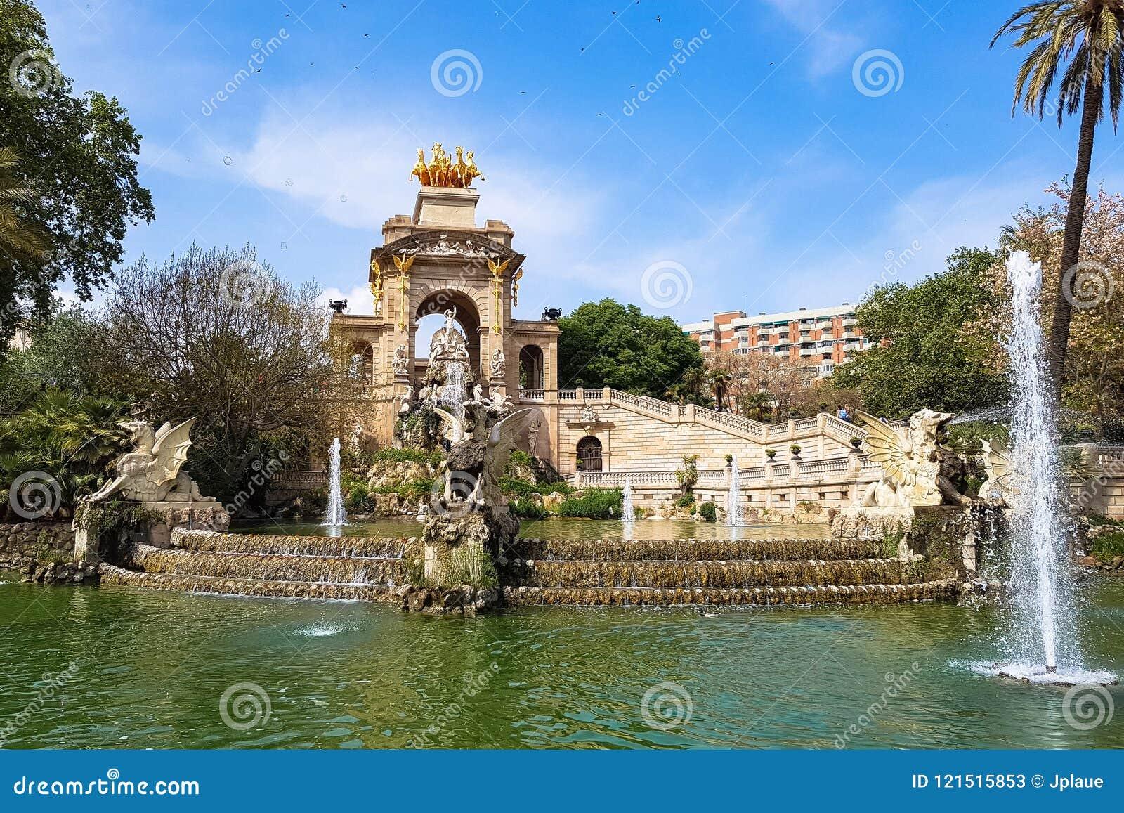 Ла Ciutadella Барселона Fontain Шрифта de Ла Cascada Parc de