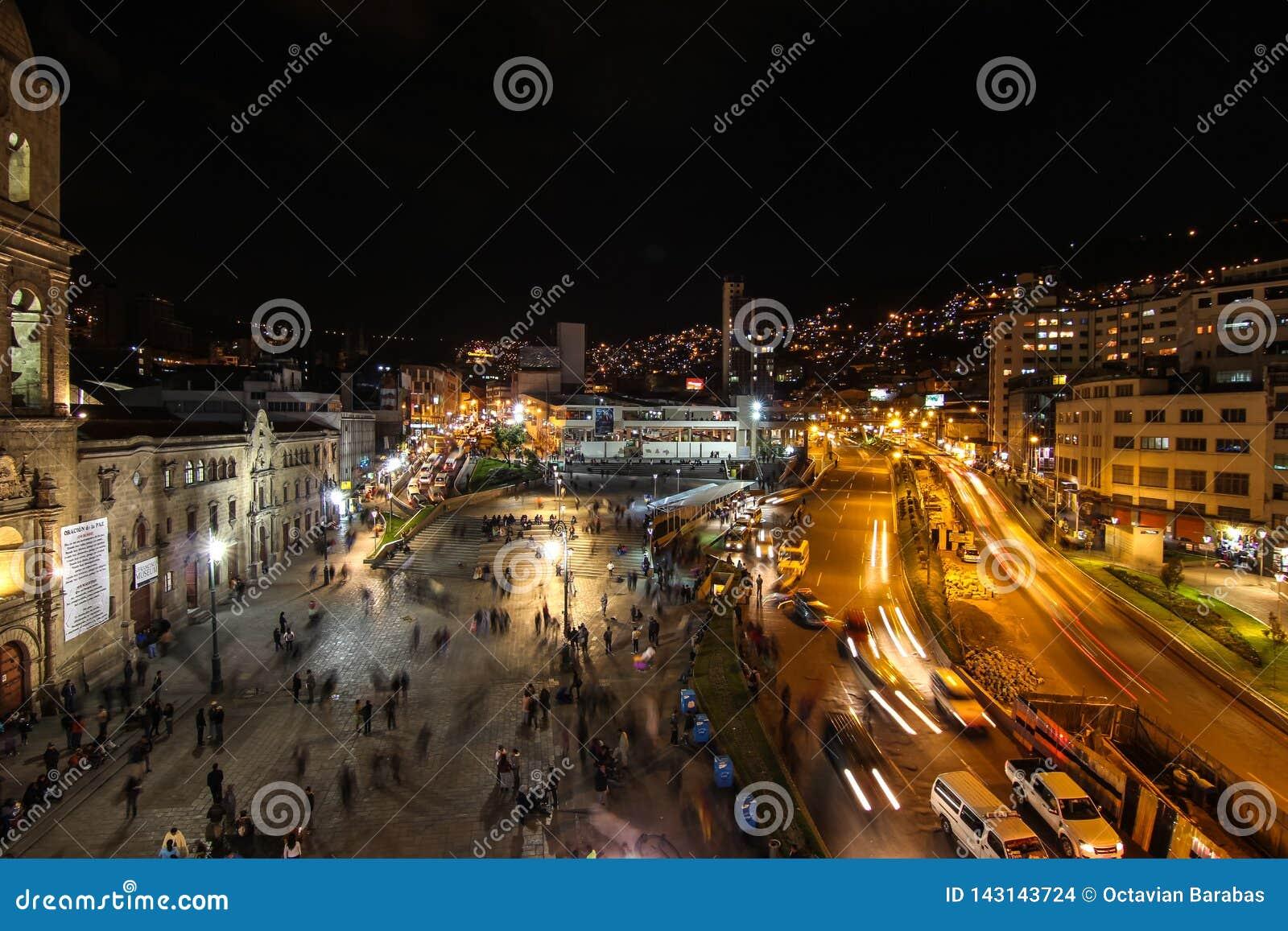 Ла Paz Боливия к ночь