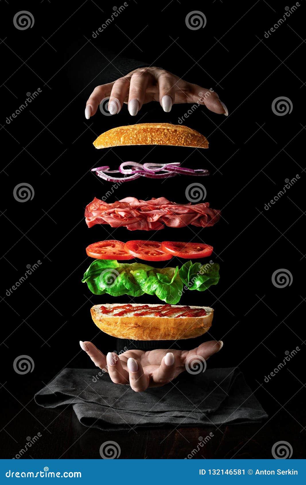 Левитация еды Сандвич