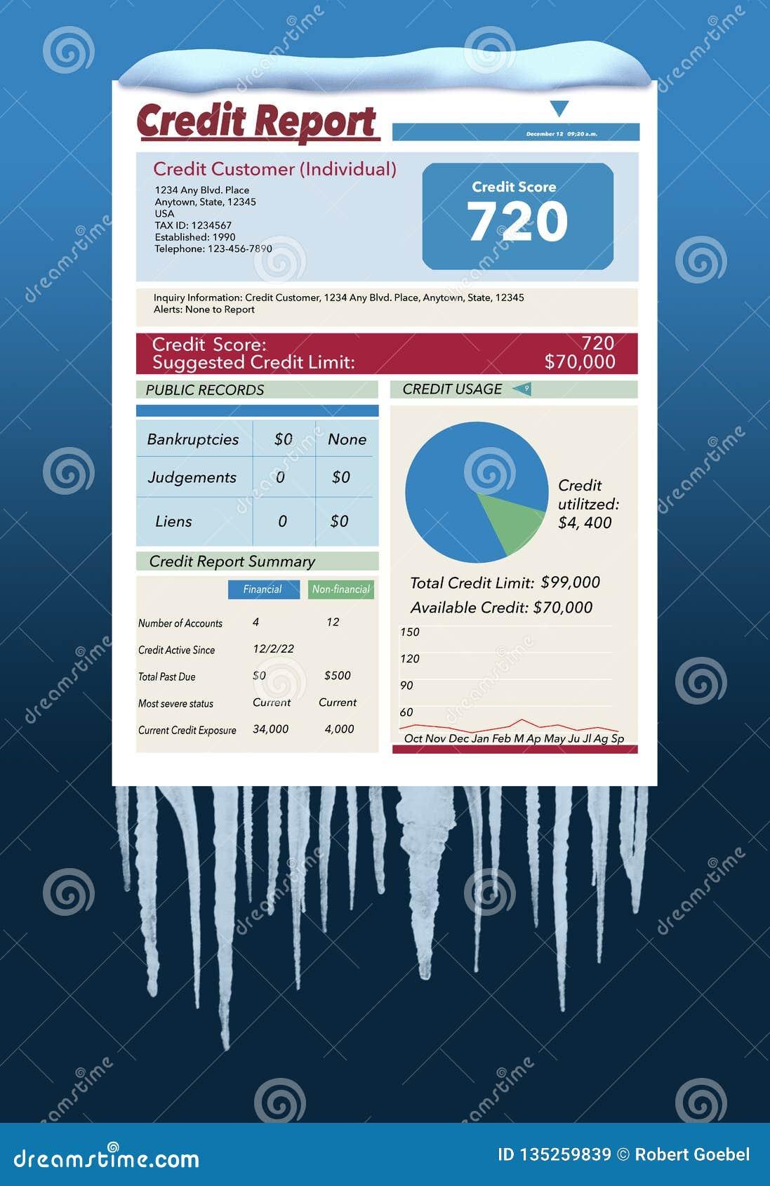 Ледистое, снег покрытая справка о кредитоспособности в пурге иллюстрирует идею замерзать ваша справка о кредитоспособности Это за