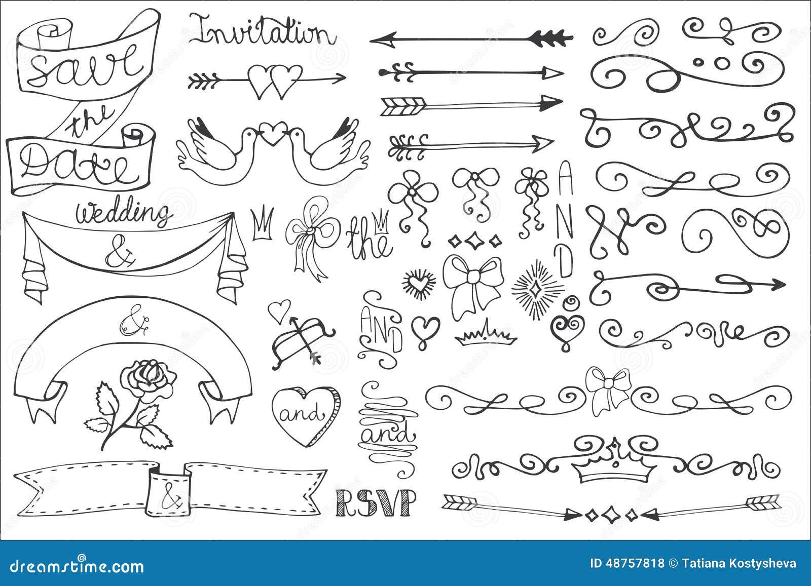 Ленты свадьбы границы свирли комплект оформления Doodle