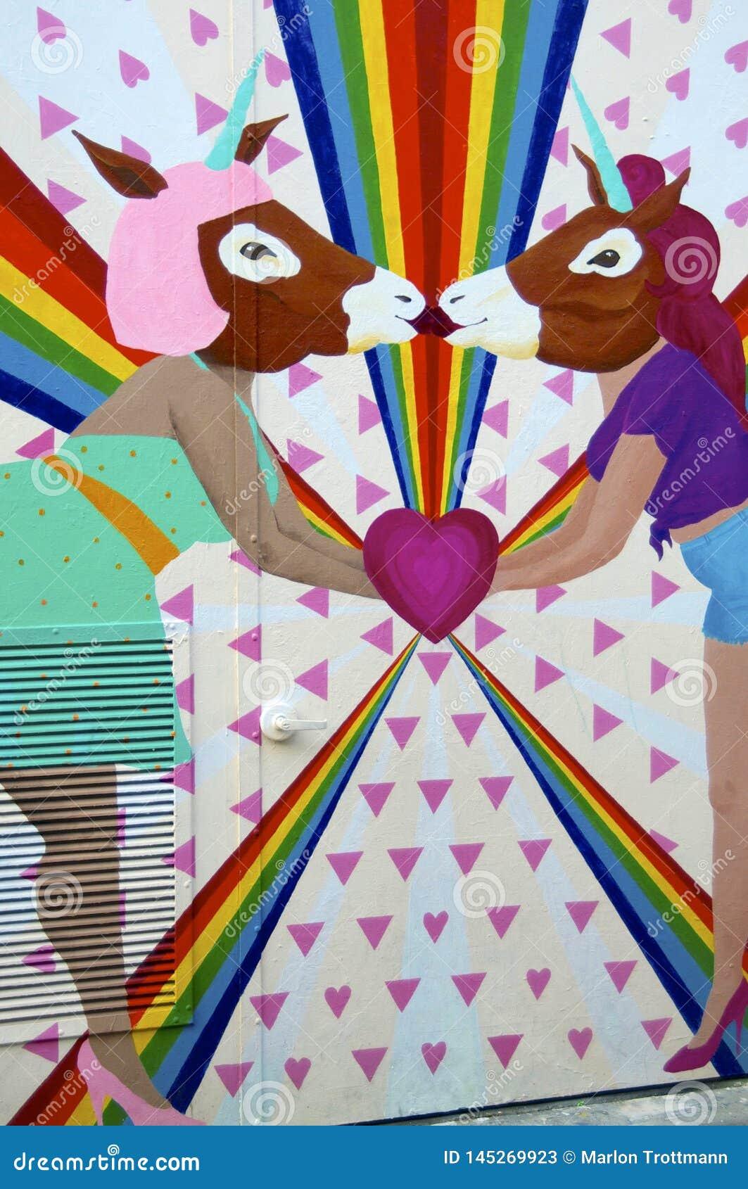 Лесбосские единороги целуя настенную роспись переулка фанфаров, Сан Fr