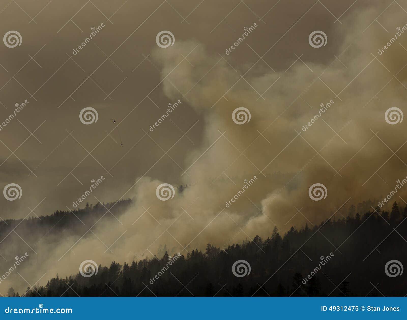 Лесной пожар вертолета Bucketing