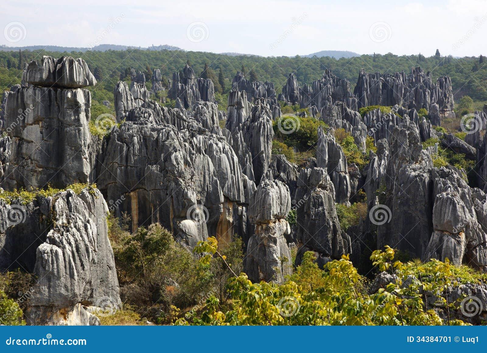 Лес камня Shilin в Kunming, Юньнань, Китае
