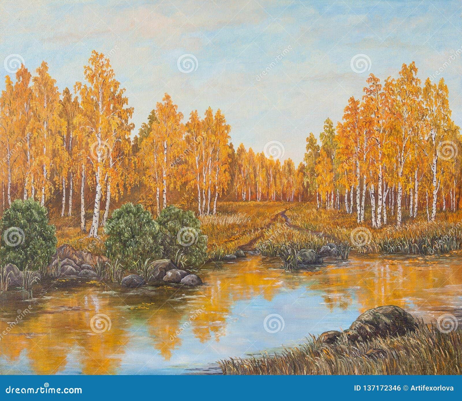 Лес около реки, оранжевые листья осени картина абстрактного масла холстины цветастого цветистого первоначально