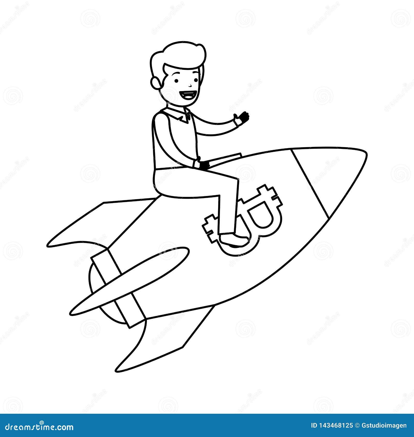 Летание бизнесмена в ракете с символом bitcoin