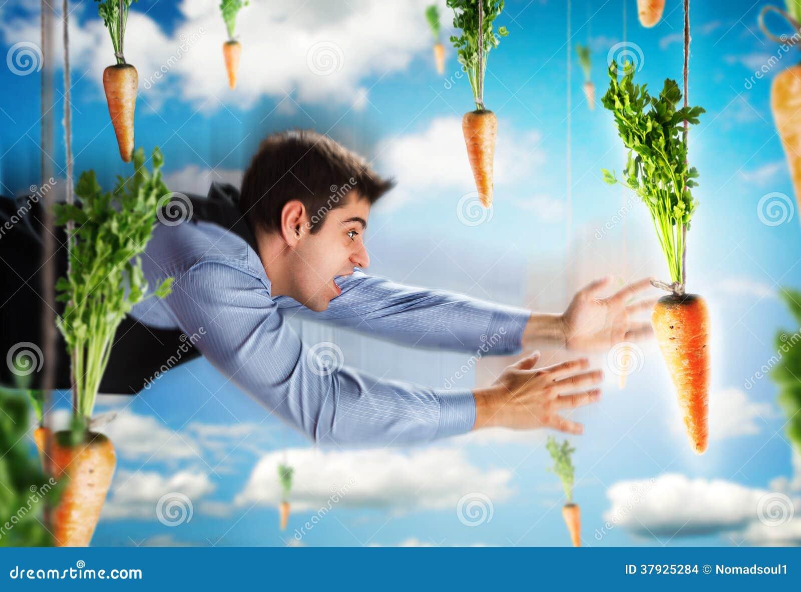 Летание бизнесмена с морковами