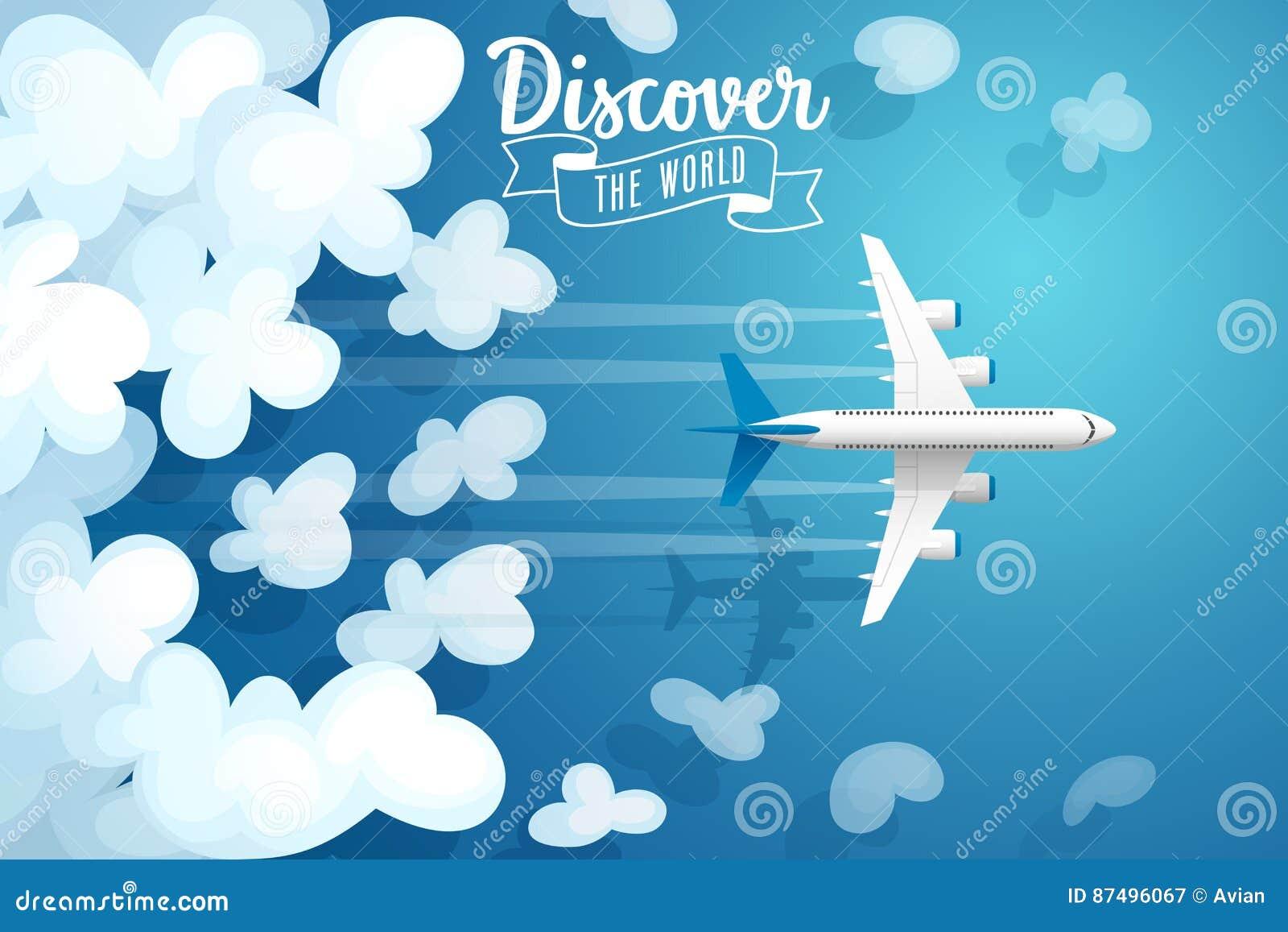Летание над облаками, плакат пассажирского самолета перемещения