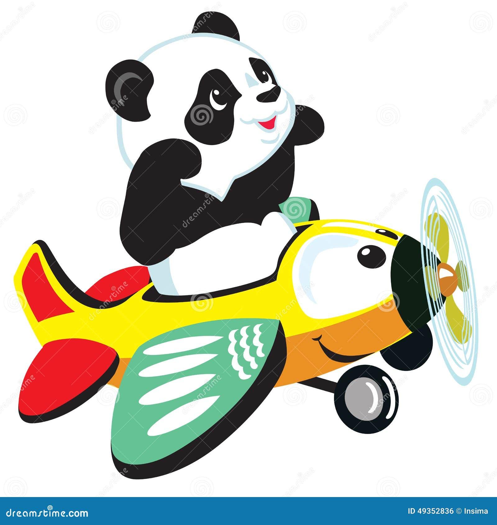 Летание панды шаржа с самолетом