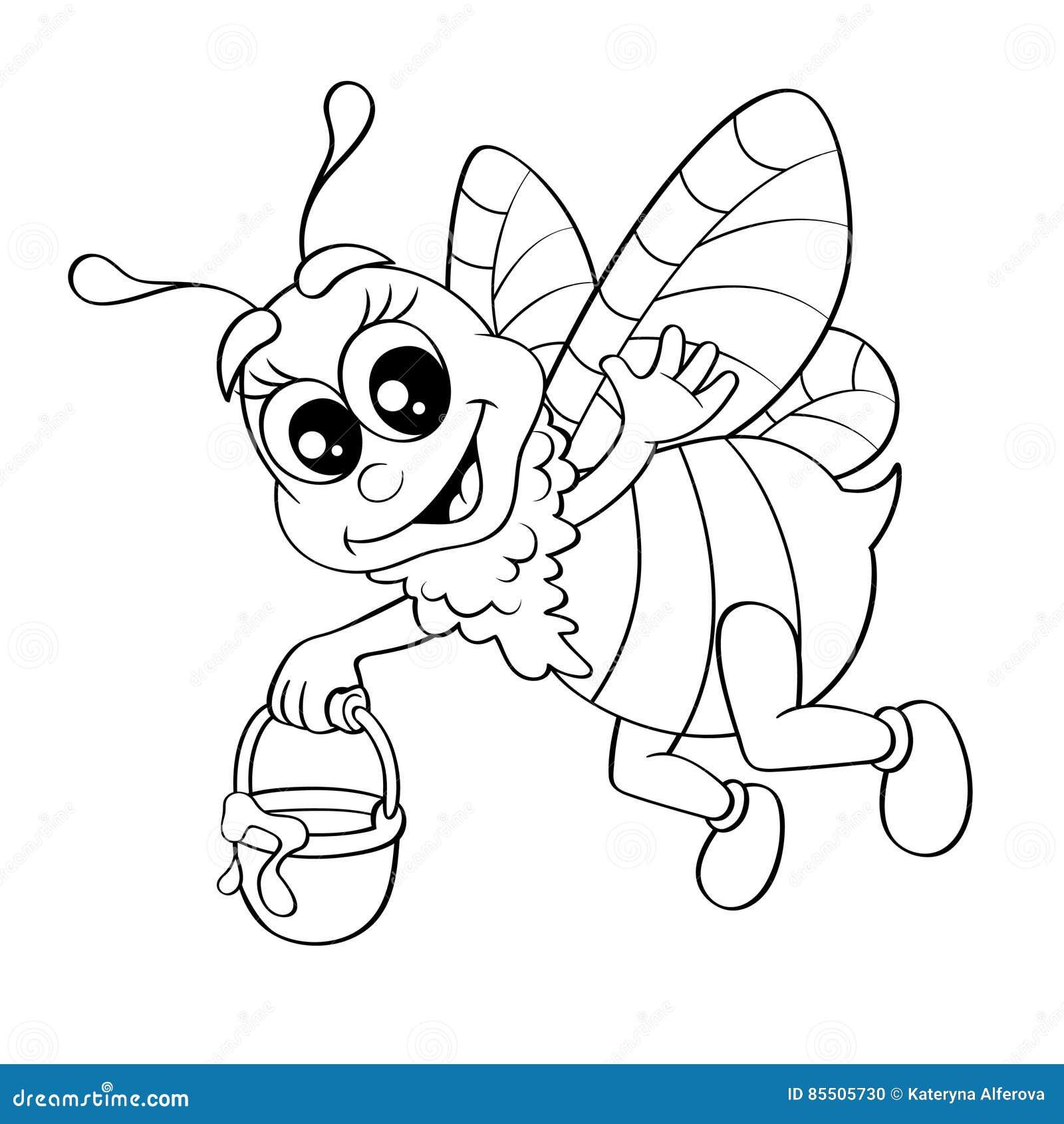 Летание пчелы шаржа с медом ведра