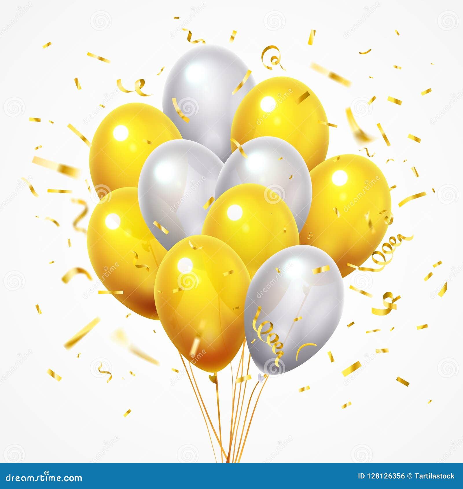 Летание раздувает группа Золотой сияющий падая confetti, лоснистый желтый и белый воздушный шар гелия с вектором ленты 3d золота
