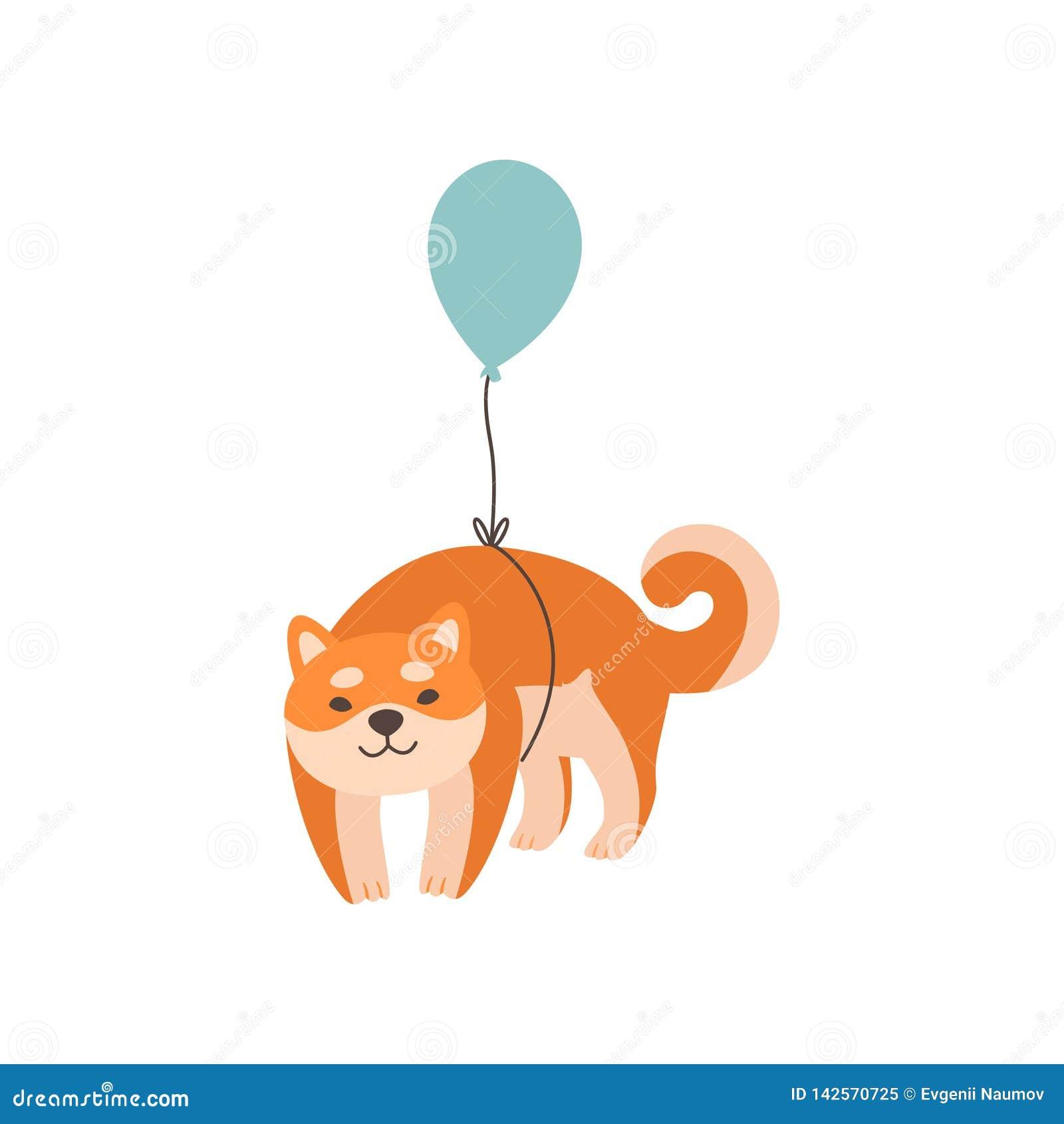 Летание собаки Shiba Inu с воздушным шаром, милой смешной иллюстрацией век