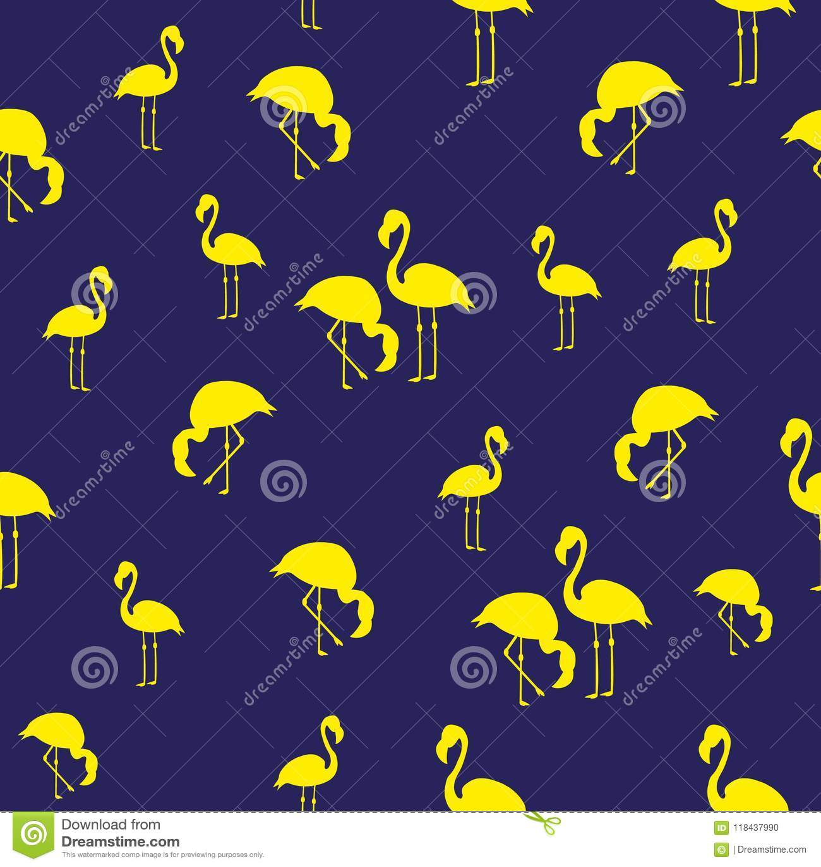 Лета фламинго птиц иллюстрации картина тропического экзотического безшовная голубой желтый цвет
