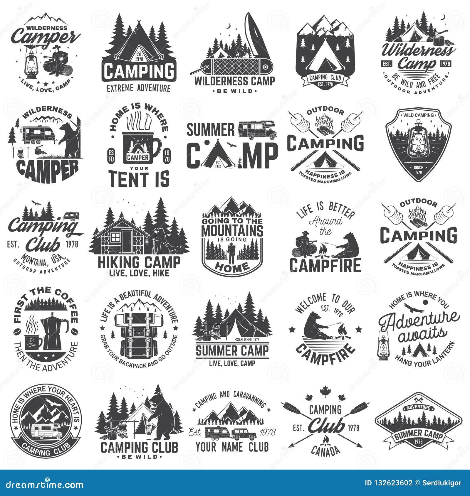 Летнего лагеря вектор Концепция для рубашки или заплаты, печати, печати Винтажный дизайн оформления с трейлером rv, располагаясь