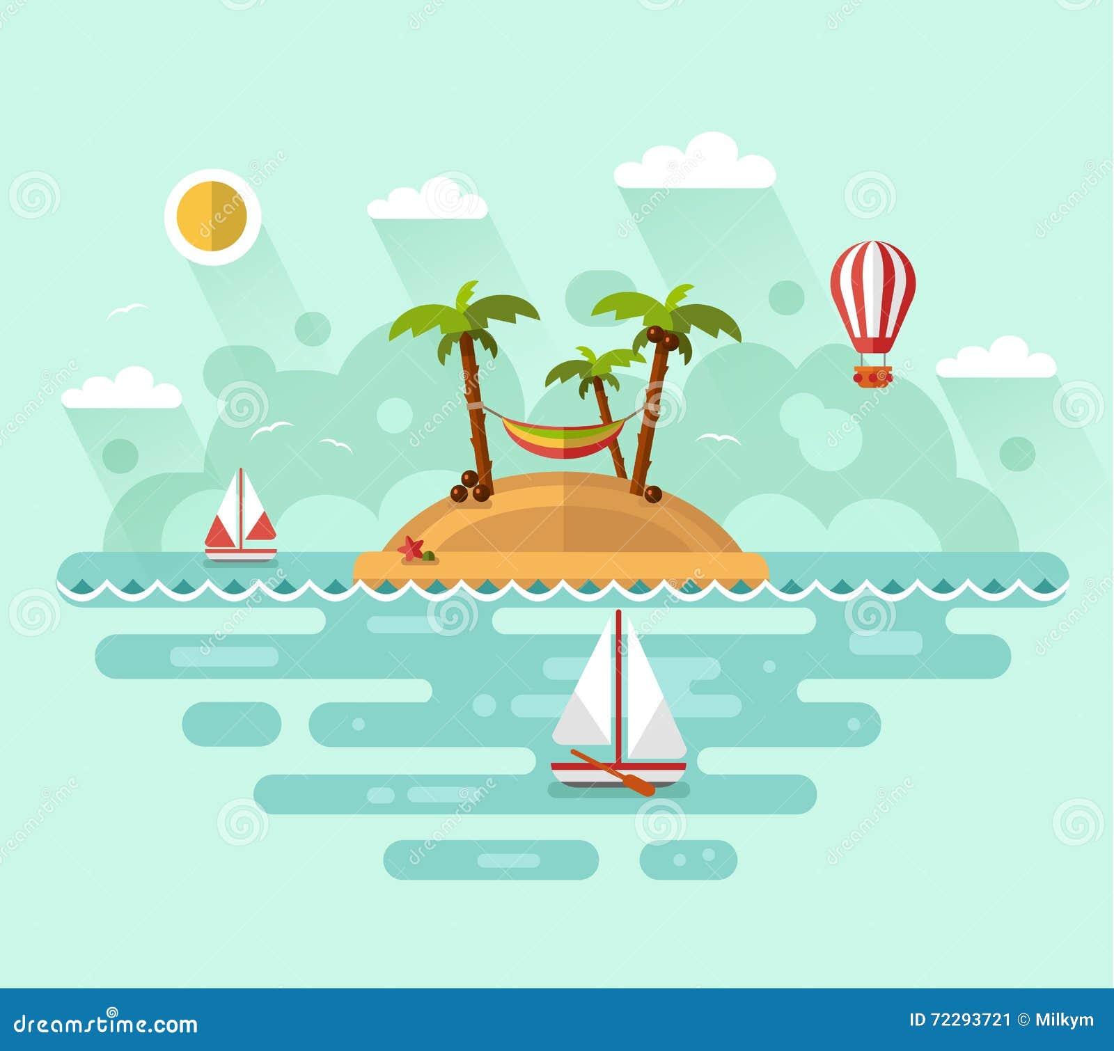 Download Летние каникулы на тропическом острове Иллюстрация вектора - иллюстрации насчитывающей sailing, balletic: 72293721