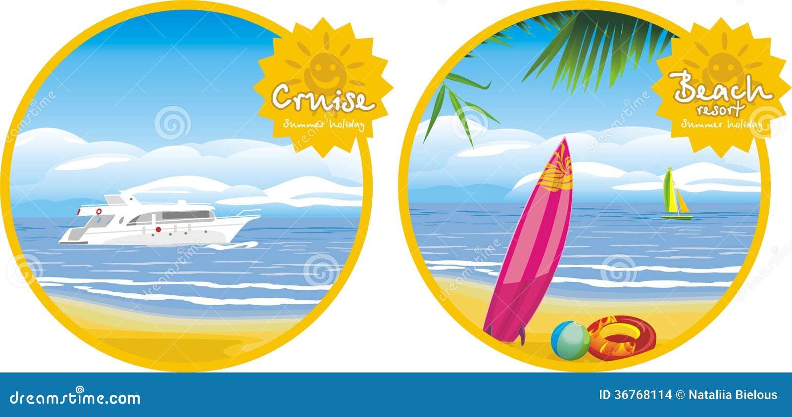 Летний отпуск. Круиз и пляжный комплекс. Значки для