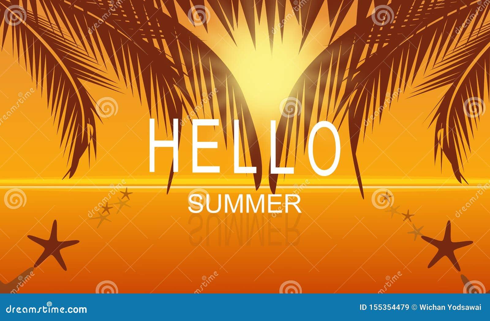 Лето вектора на предпосылке плаката партии пляжа моря на заходе солнца со здравствуйте текстом лета