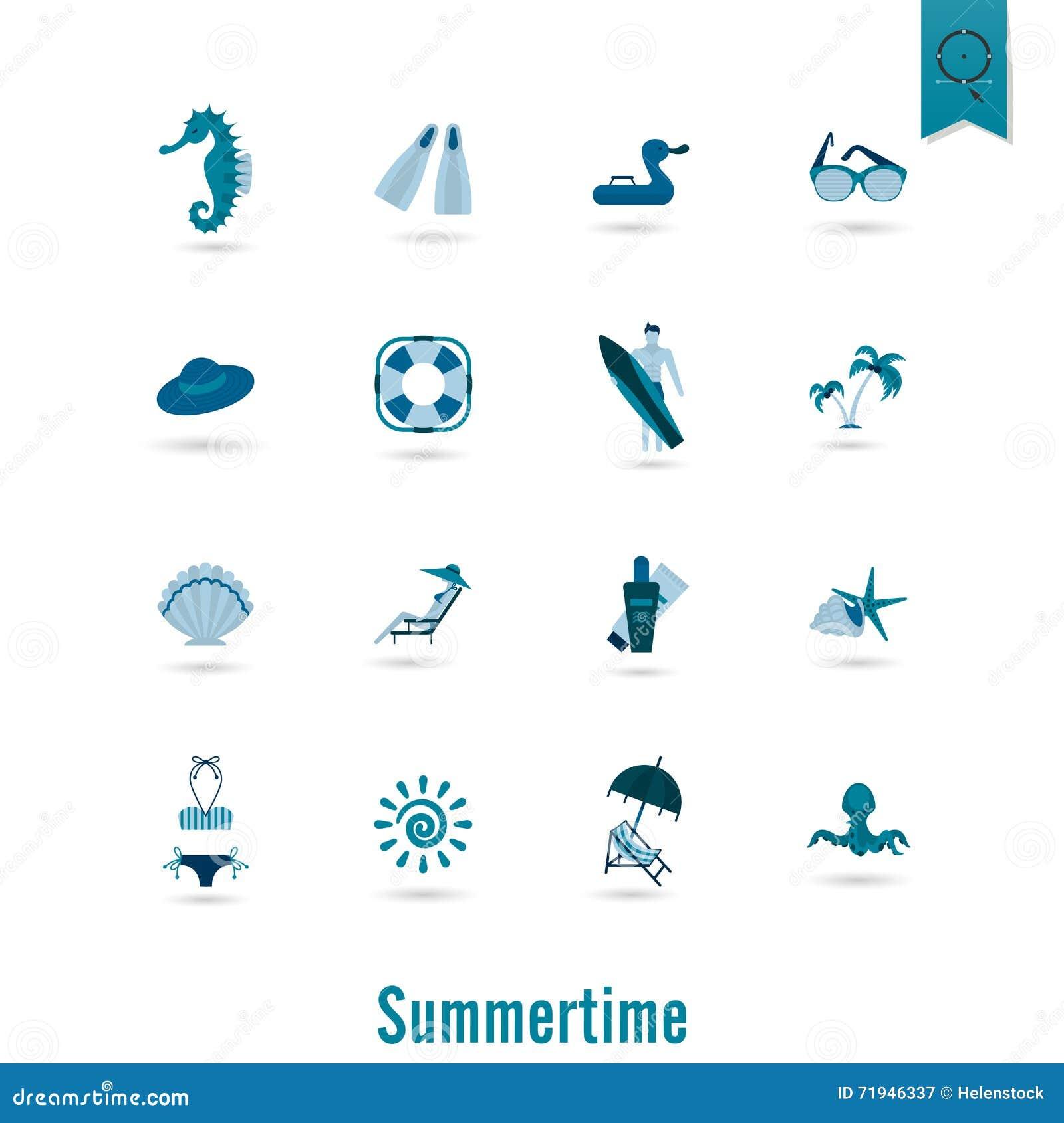 Лето и значки пляжа простые плоские