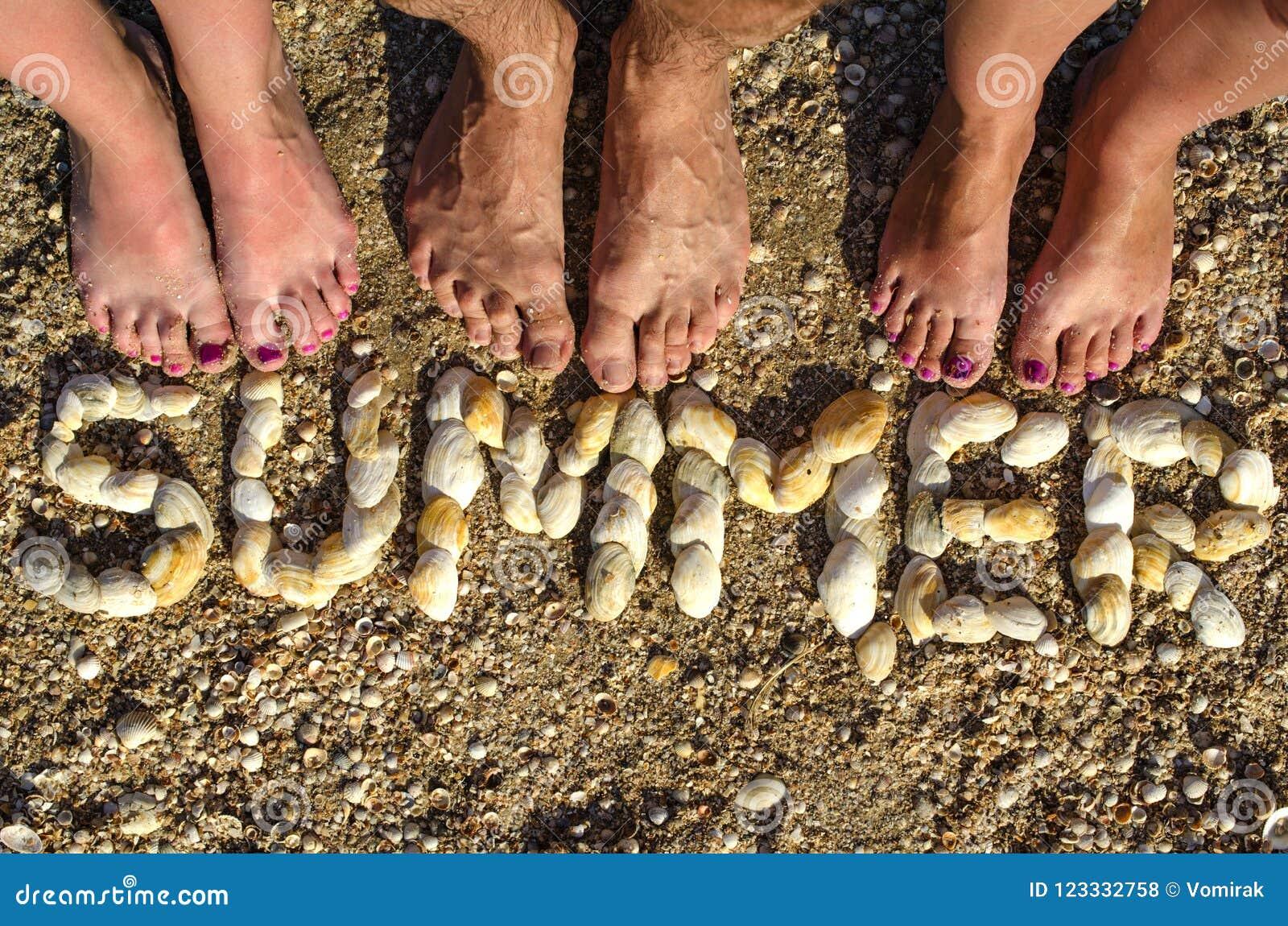 ЛЕТО надписи клало из раковин на песок