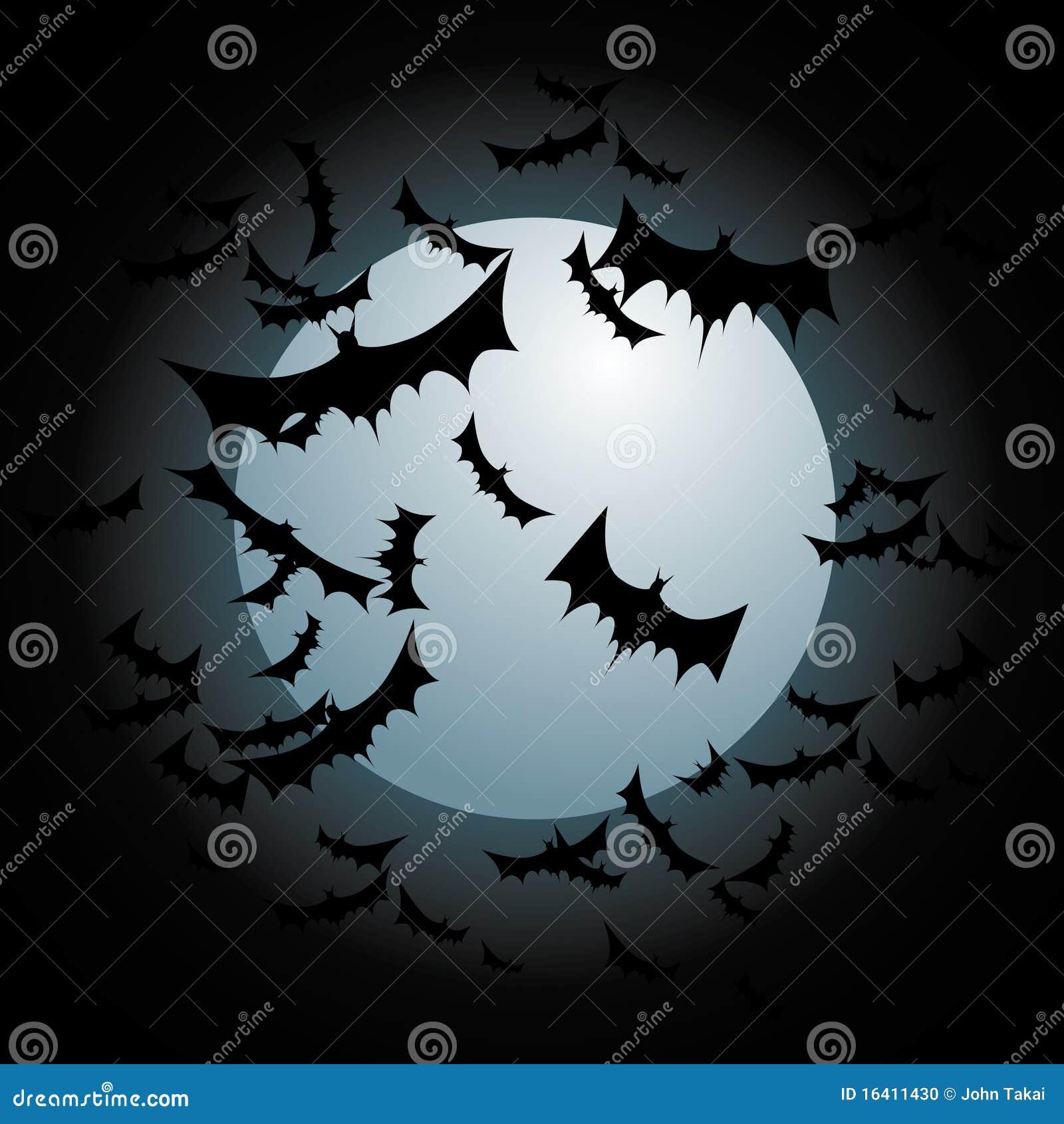 Летучие мыши летая полная луна