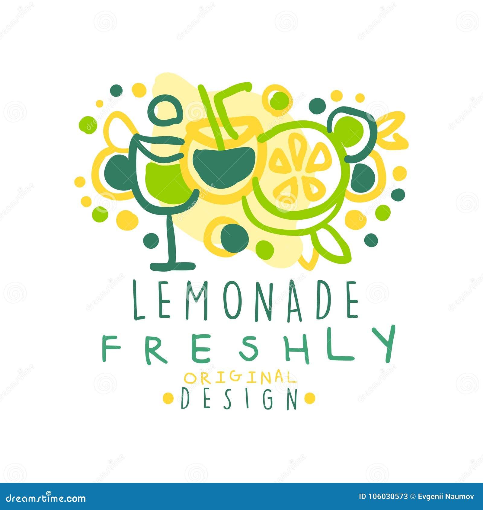 Лимонада логотип оригинального дизайна свеже, естественная здоровая иллюстрация вектора значка продукта красочная рука нарисованн