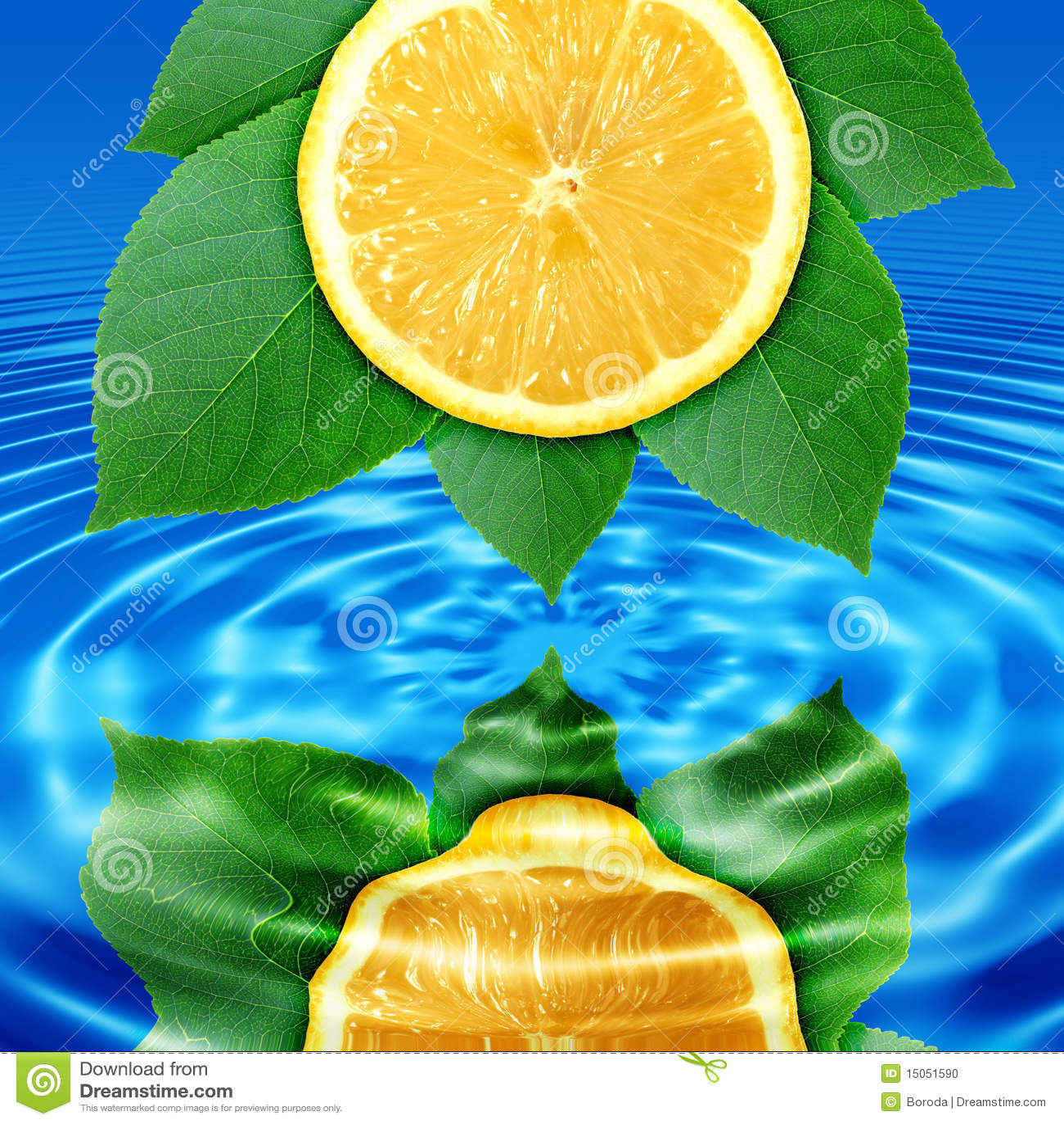 лимон листьев отражает воду ломтика