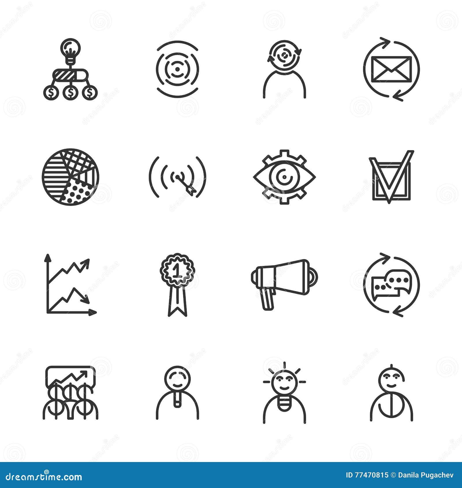 Линейные startup установленные значки Всеобщий startup значок, который нужно использовать в сети и передвижном UI Startup основно