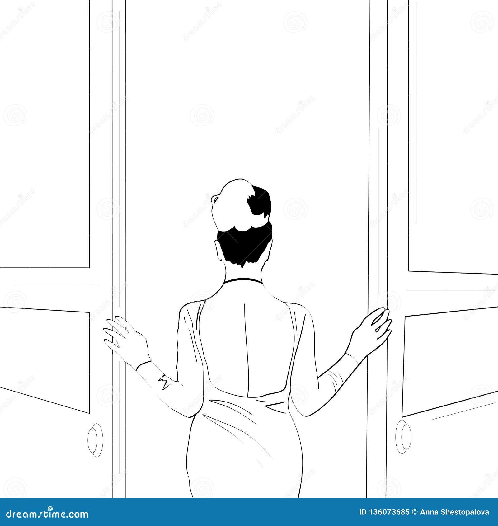 Линии вектора Гай держа подарок для его линий girlfriendVector Шикарная девушка раскрывает дверь