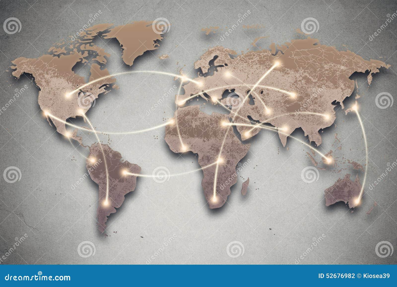Линии карты и соединения мира Социальные средства массовой информации, сеть