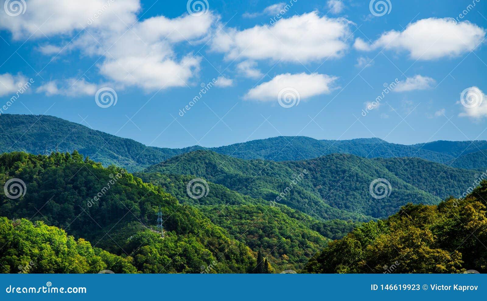 Линии электропередач в зеленых холмах в ясной погоде
