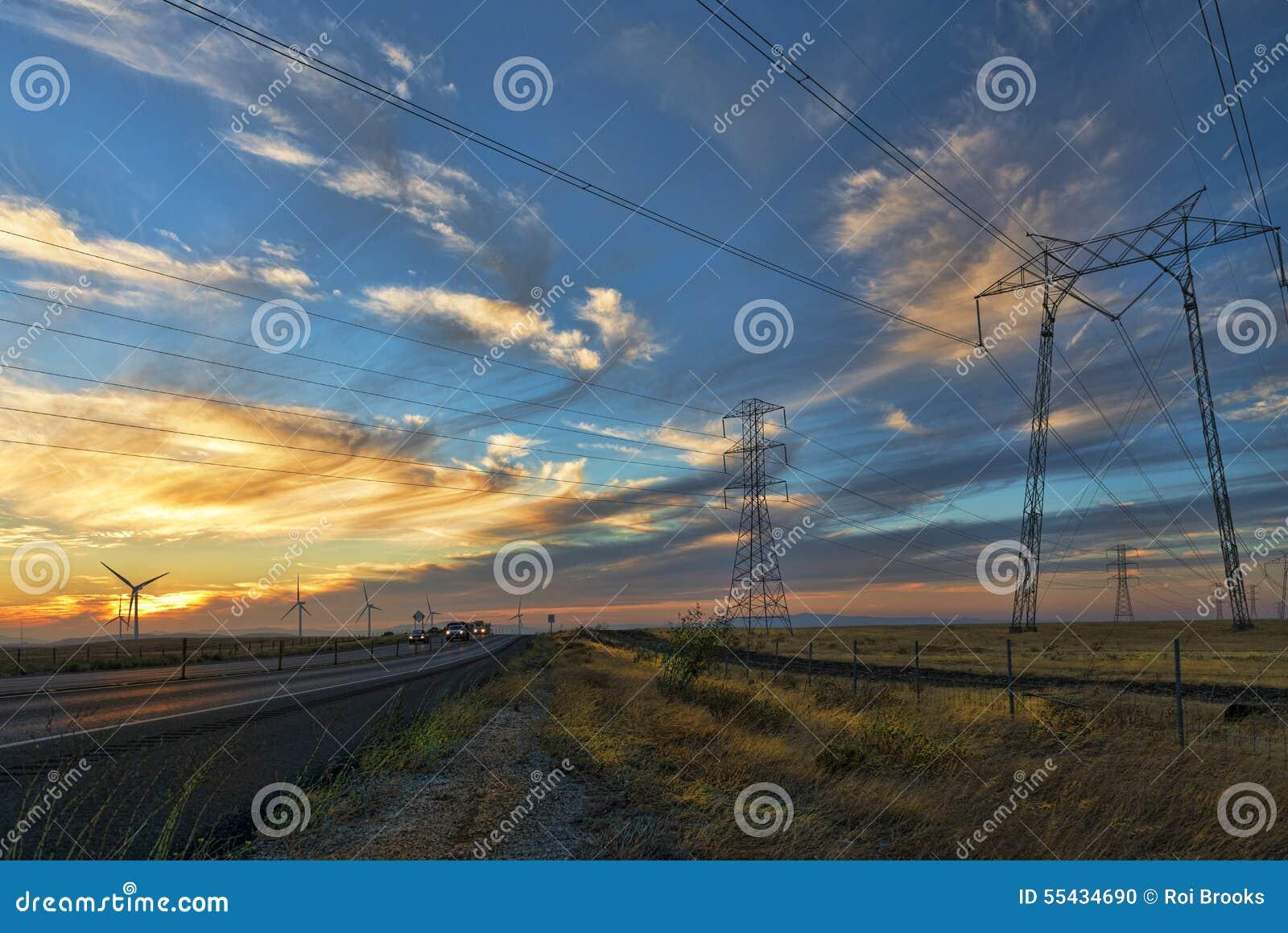 Линии электропередач и ветрянки