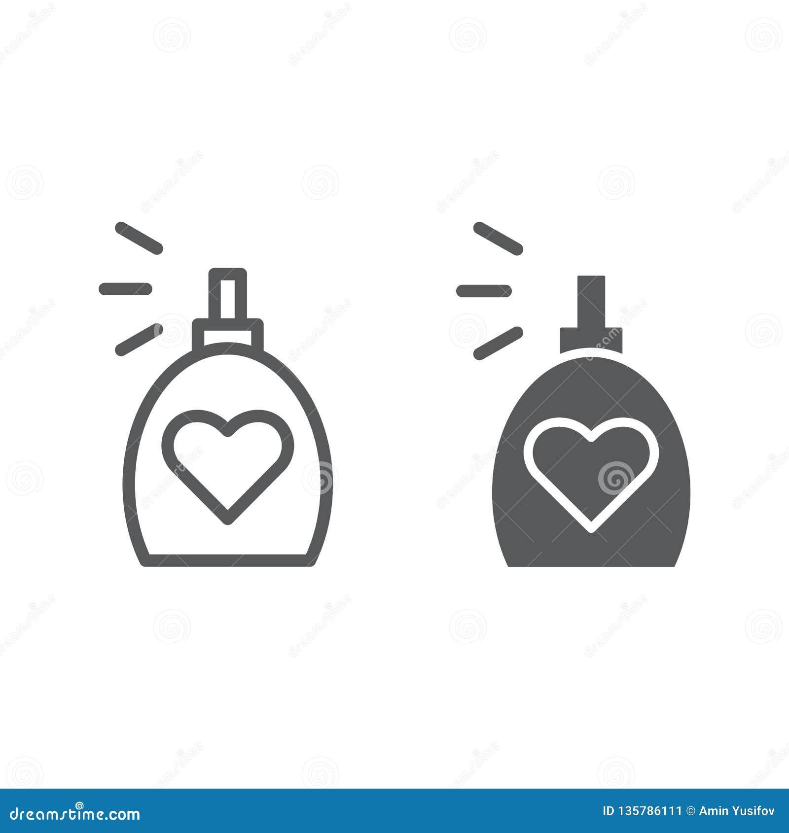 Линия благоуханием и значок глифа, ароматность и любовь, знак духов, векторные графики, линейная картина на белой предпосылке