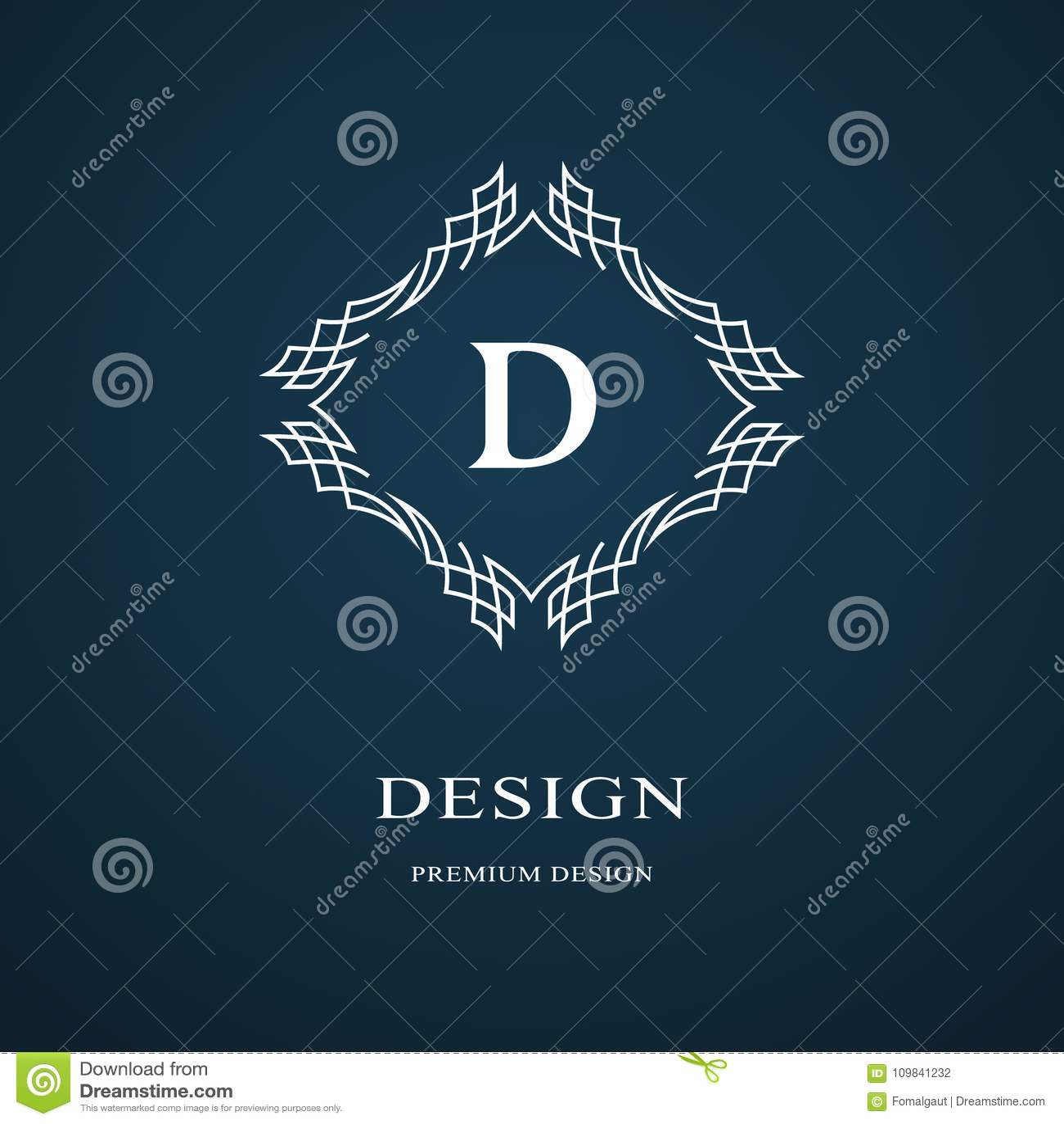 Линия вензель графиков Дизайн логотипа элегантного искусства Письмо d Грациозно шаблон Знак дела, идентичность для ресторана, кор