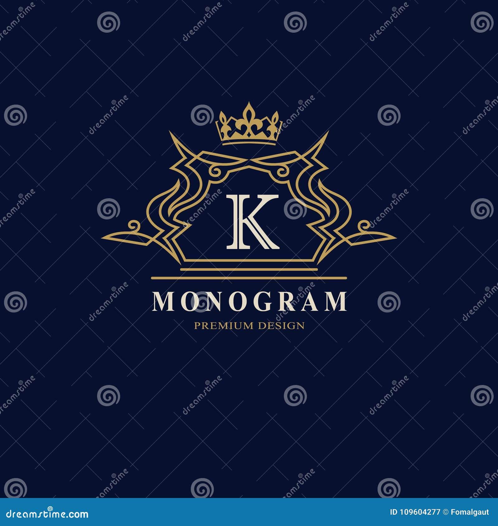 Линия вензель графиков Дизайн логотипа элегантного искусства Письмо k Грациозно шаблон Знак дела, идентичность для ресторана, кор