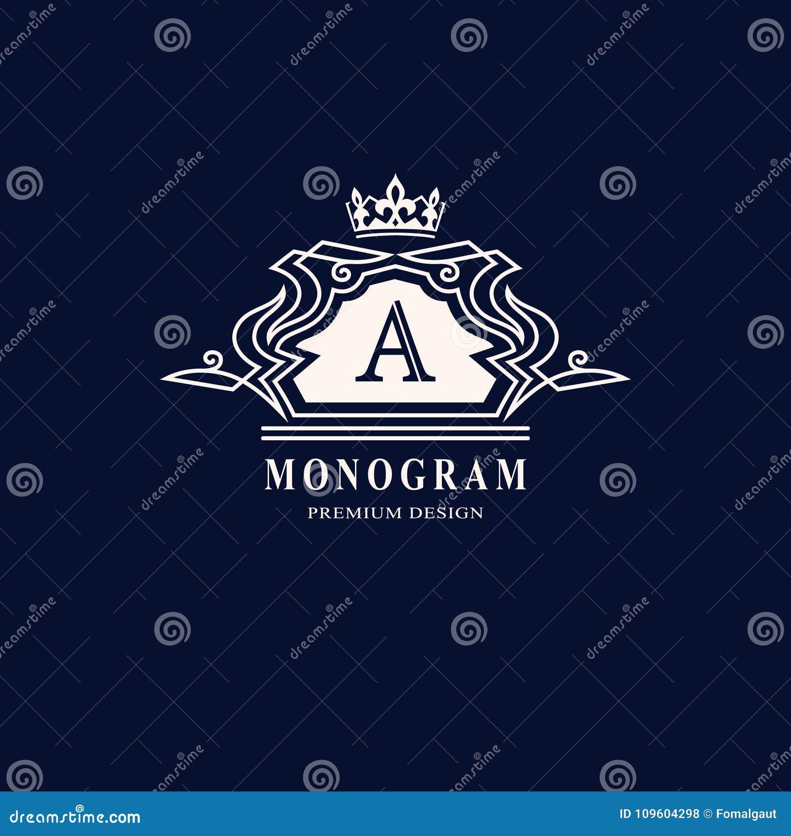 Линия вензель графиков Дизайн логотипа элегантного искусства Пометьте буквами a Грациозно шаблон Знак дела, идентичность для рест
