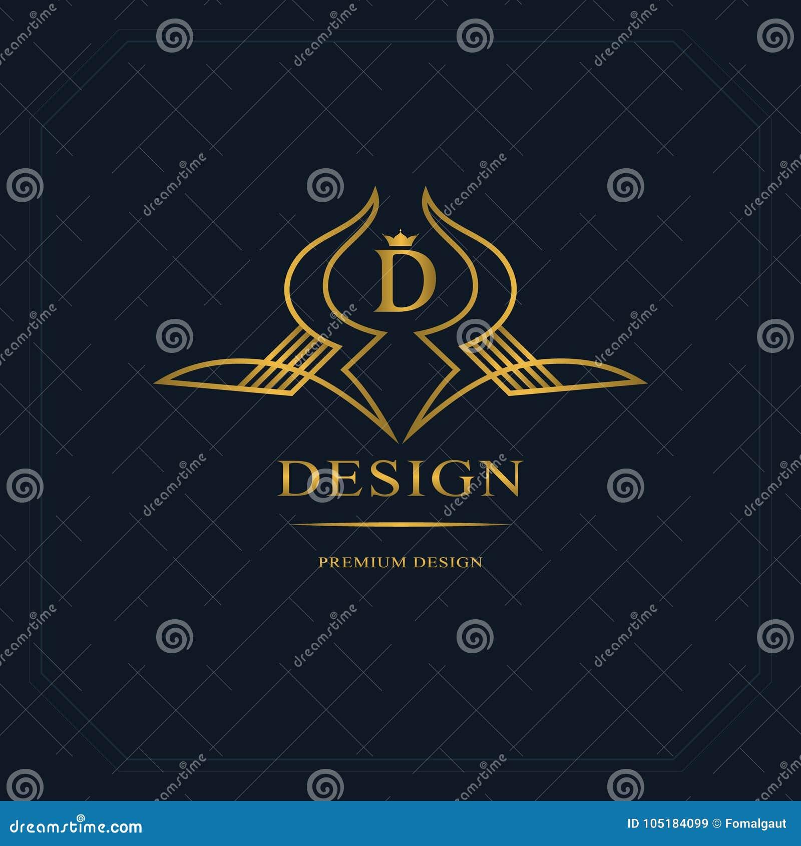 Линия вензель золота графиков Дизайн логотипа элегантного искусства Письмо d Грациозно шаблон Знак дела, идентичность для рестора