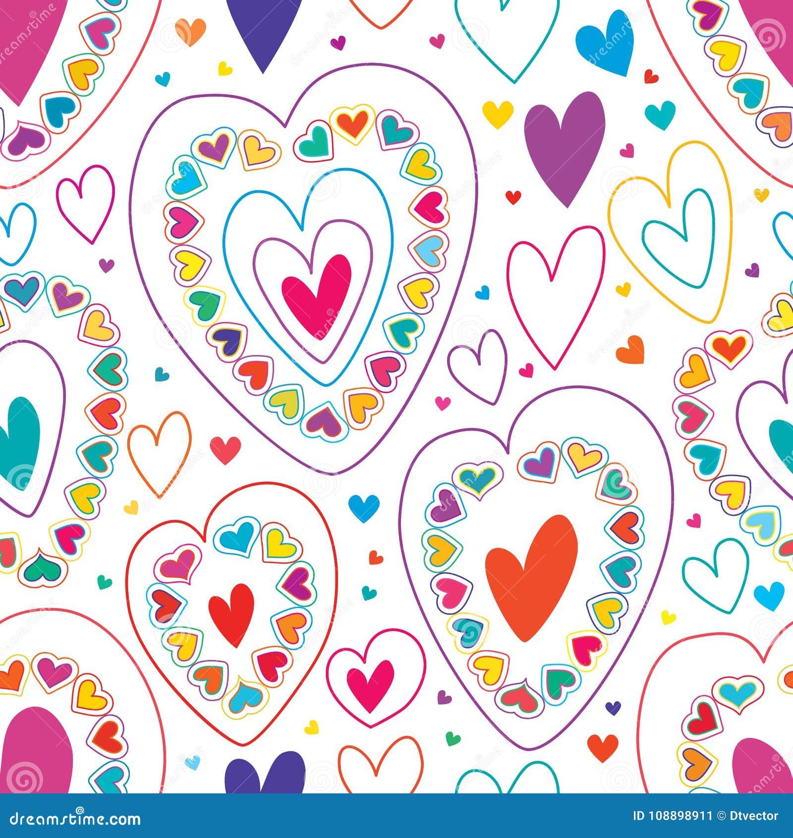 Линия влюбленности много красочная безшовная картина
