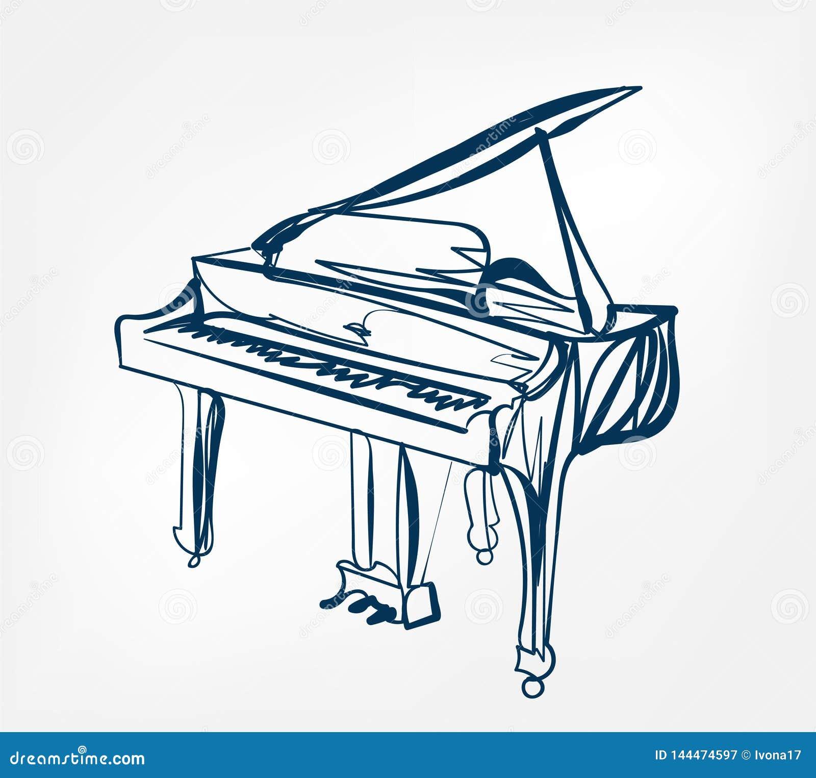 Линия дизайн эскиза рояля