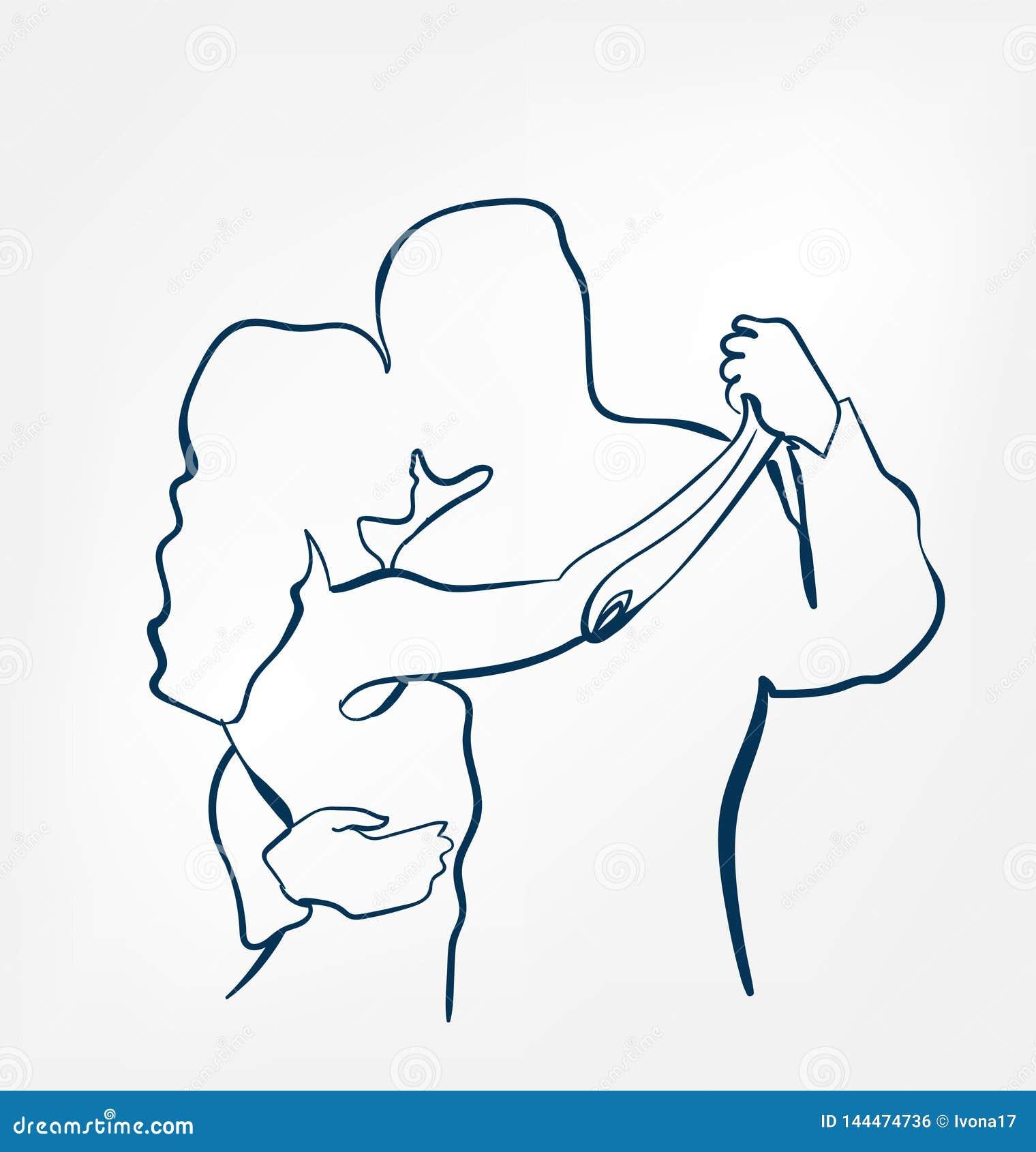 Линия дизайн эскиза sihouette пар танца