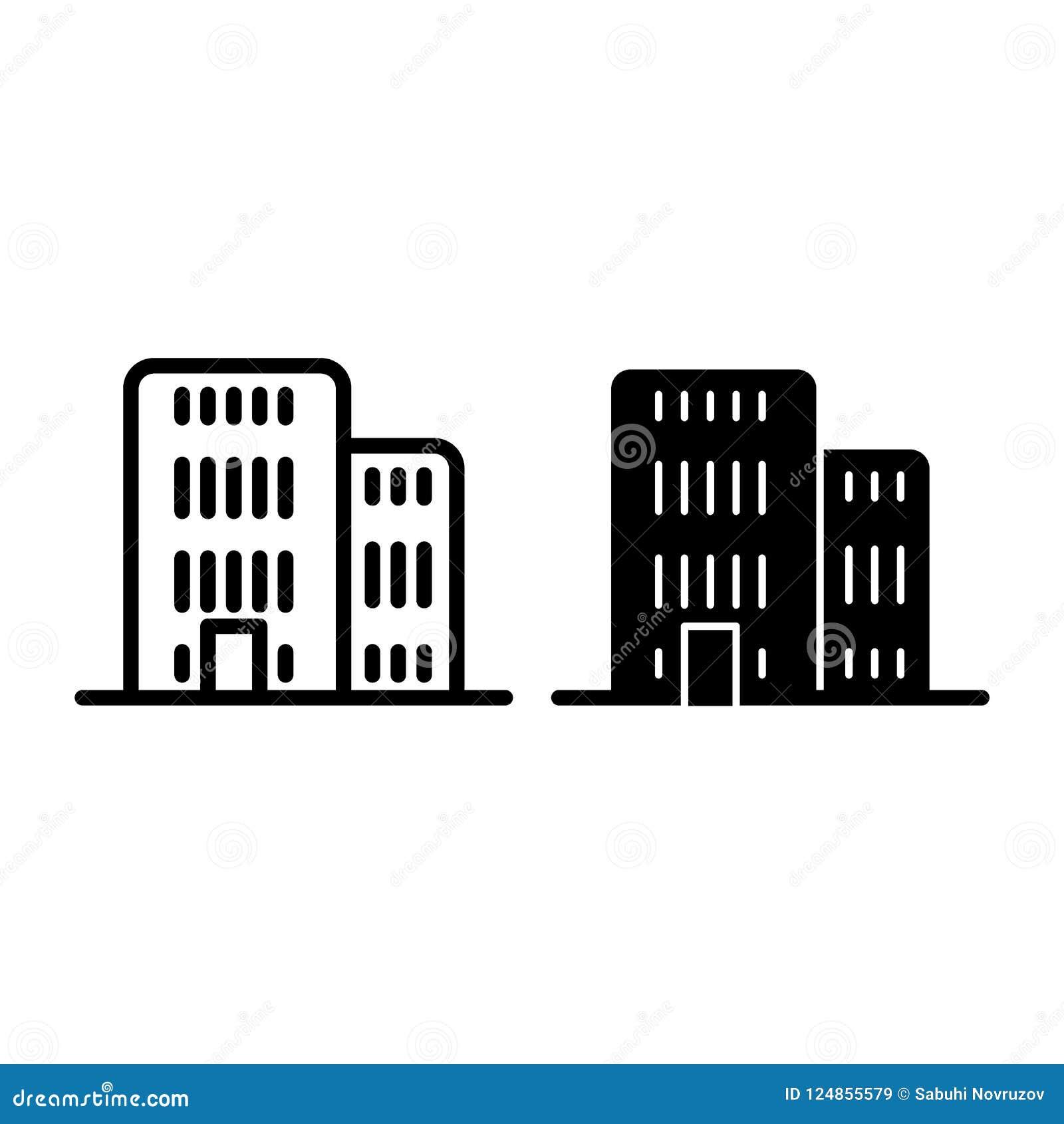 Линия здания и значок глифа Иллюстрация вектора архитектуры изолированная на белизне Конструированный дизайн стиля плана офиса,
